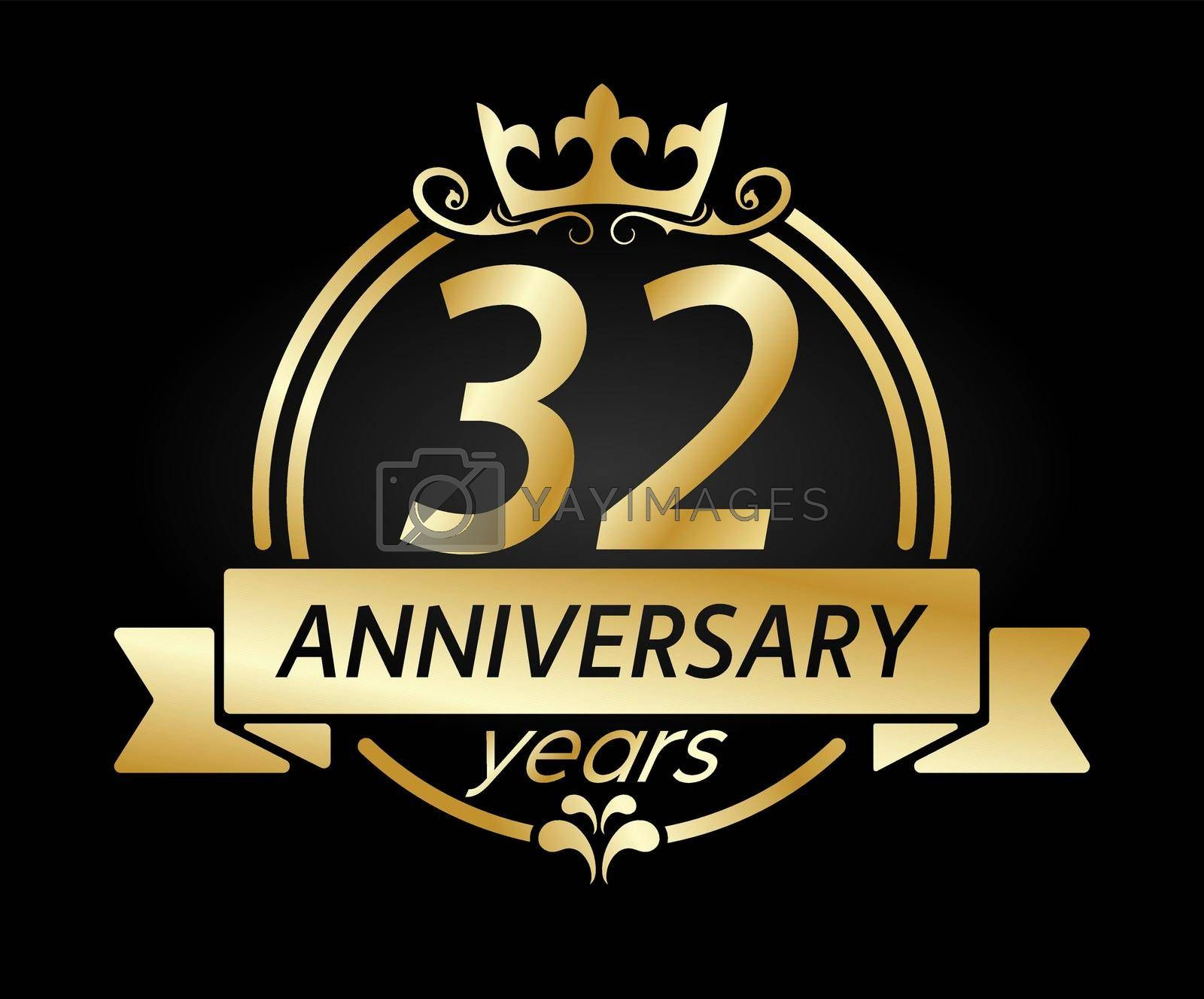 Royalty free image of 32 year anniversary. Gold round frame with crown and ribbon. Vector illustration for birthday, wedding or anniversary greetings, for creative design by Grommik