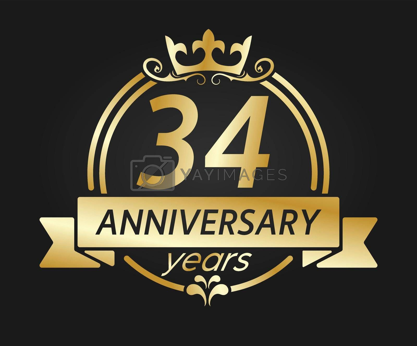 Royalty free image of 34 year anniversary. Gold round frame with crown and ribbon. Vector illustration for birthday, wedding or anniversary greetings, for creative design by Grommik