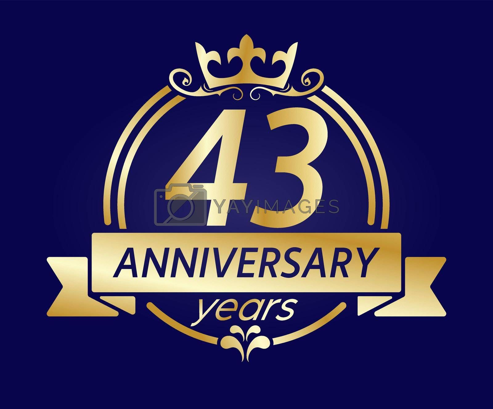 43 year anniversary. Gold round frame with crown and ribbon. Vector illustration for birthday, wedding or anniversary greetings, for creative design. Simple style.