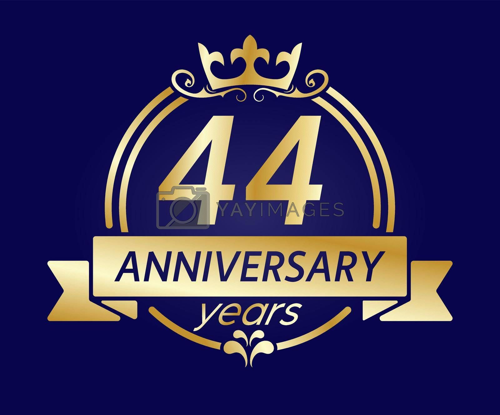 Royalty free image of 44 year anniversary. Gold round frame with crown and ribbon. Vector illustration for birthday, wedding or anniversary greetings, for creative design by Grommik
