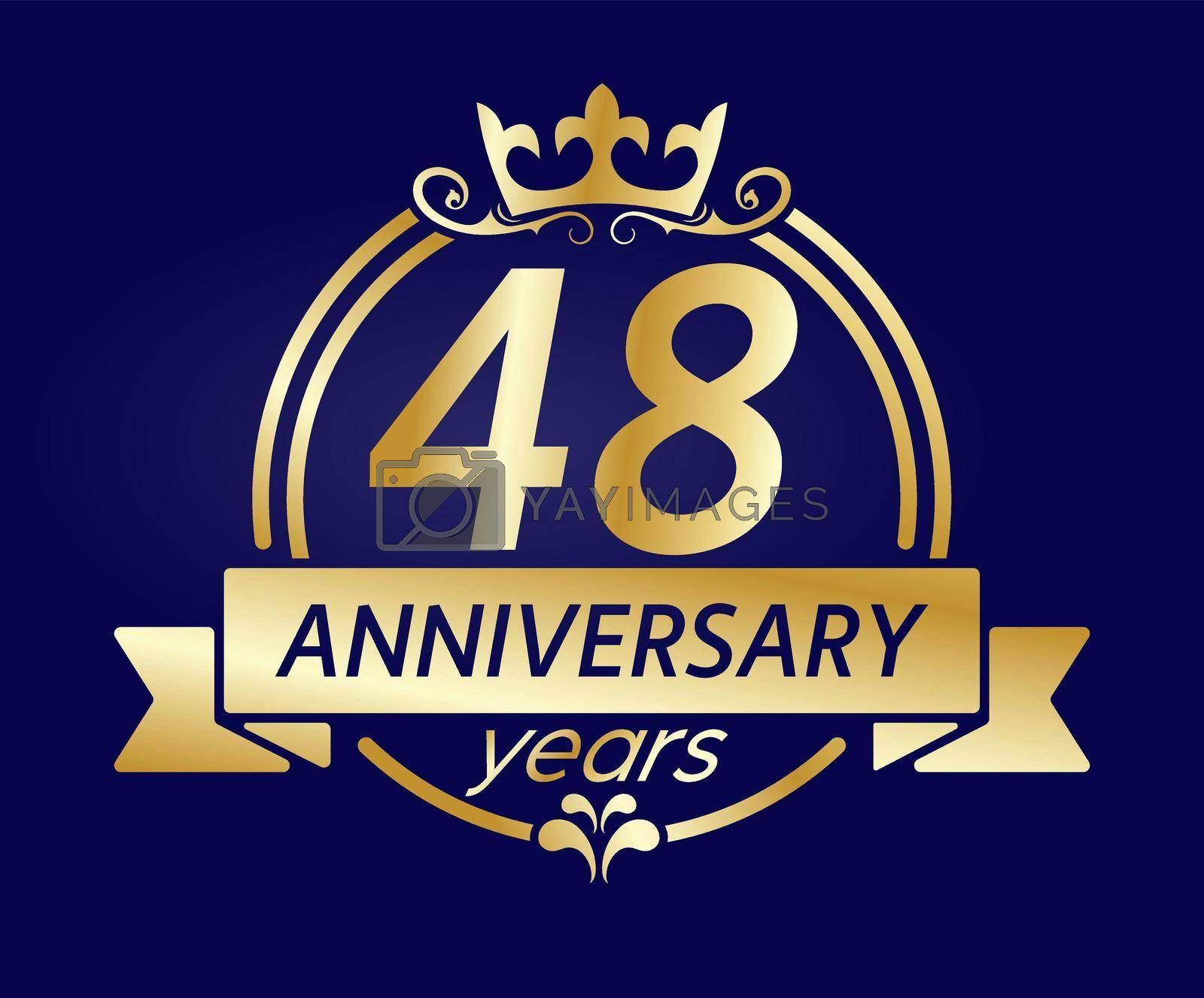 Royalty free image of 48 year anniversary. Gold round frame with crown and ribbon. Vector illustration for birthday, wedding or anniversary greetings, for creative design by Grommik