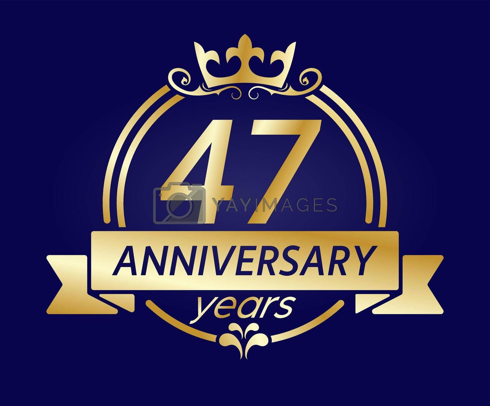 47 year anniversary. Gold round frame with crown and ribbon. Vector illustration for birthday, wedding or anniversary greetings, for creative design. Simple style.