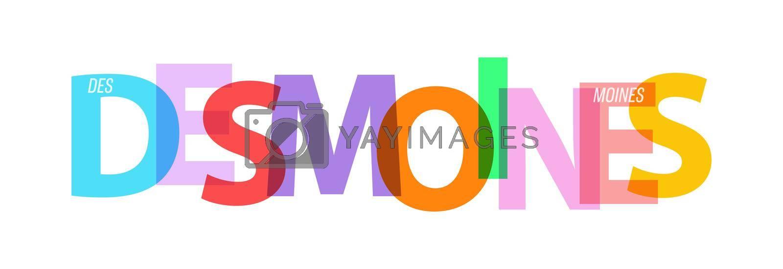 DES MOINES. Lettering on a white background. Vector design template for poster, map, banner. Vector illustration.