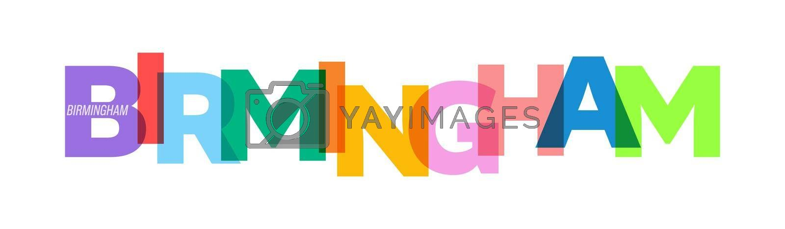 BIRMINGHAM. Lettering on a white background. Vector design template for poster, map, banner. Vector illustration.