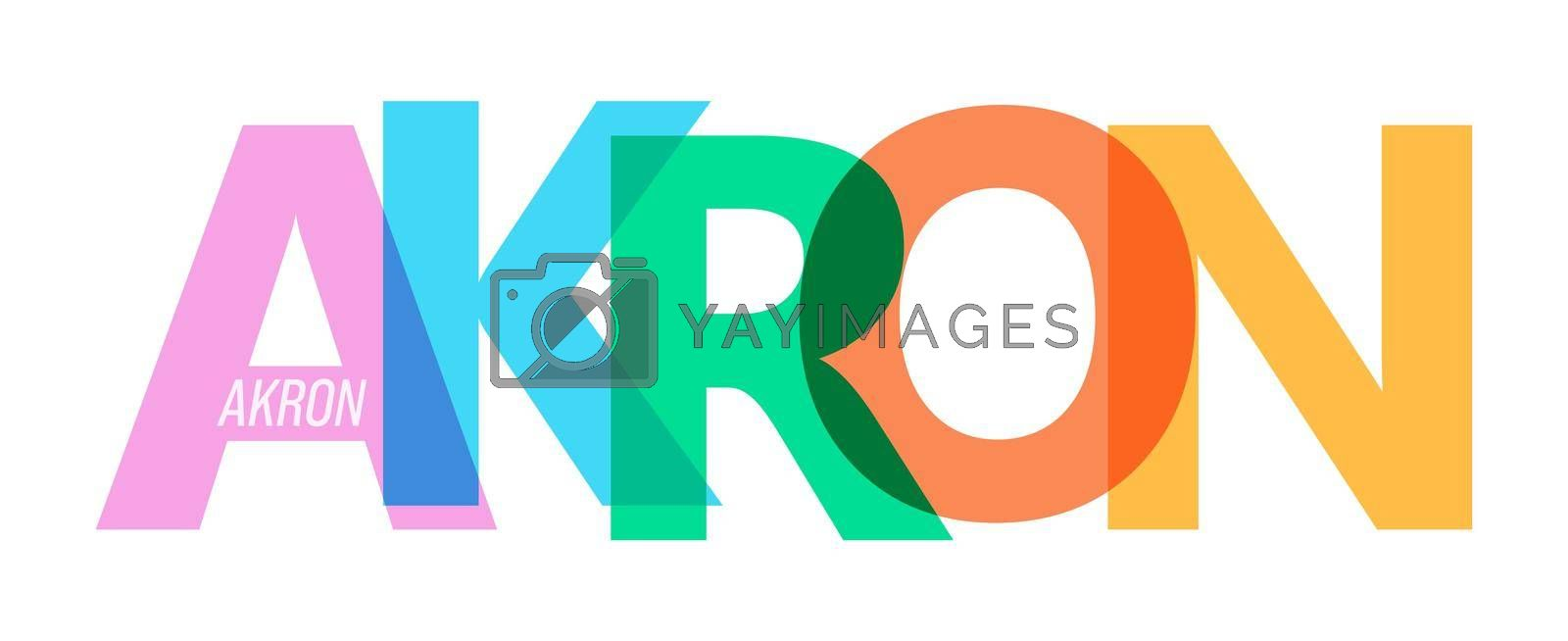 AKRON. Lettering on a white background. Vector design template for poster, map, banner. Vector illustration.