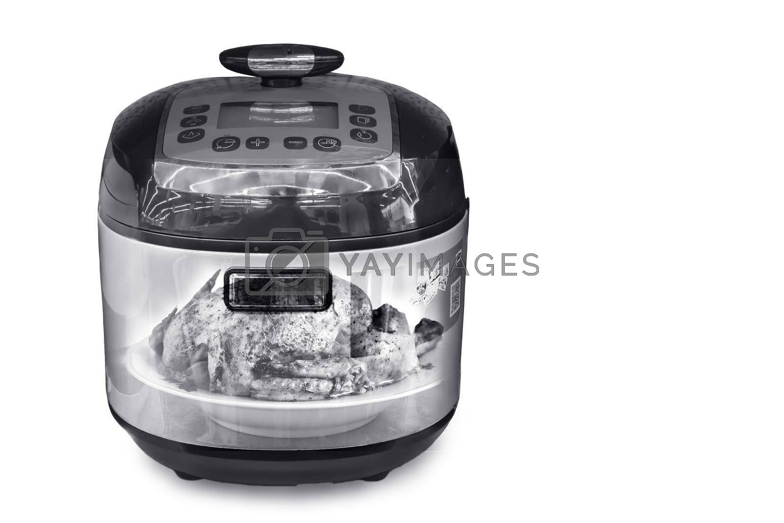 Royalty free image of The slow cooker on a white background. The double exposure effec by georgina198