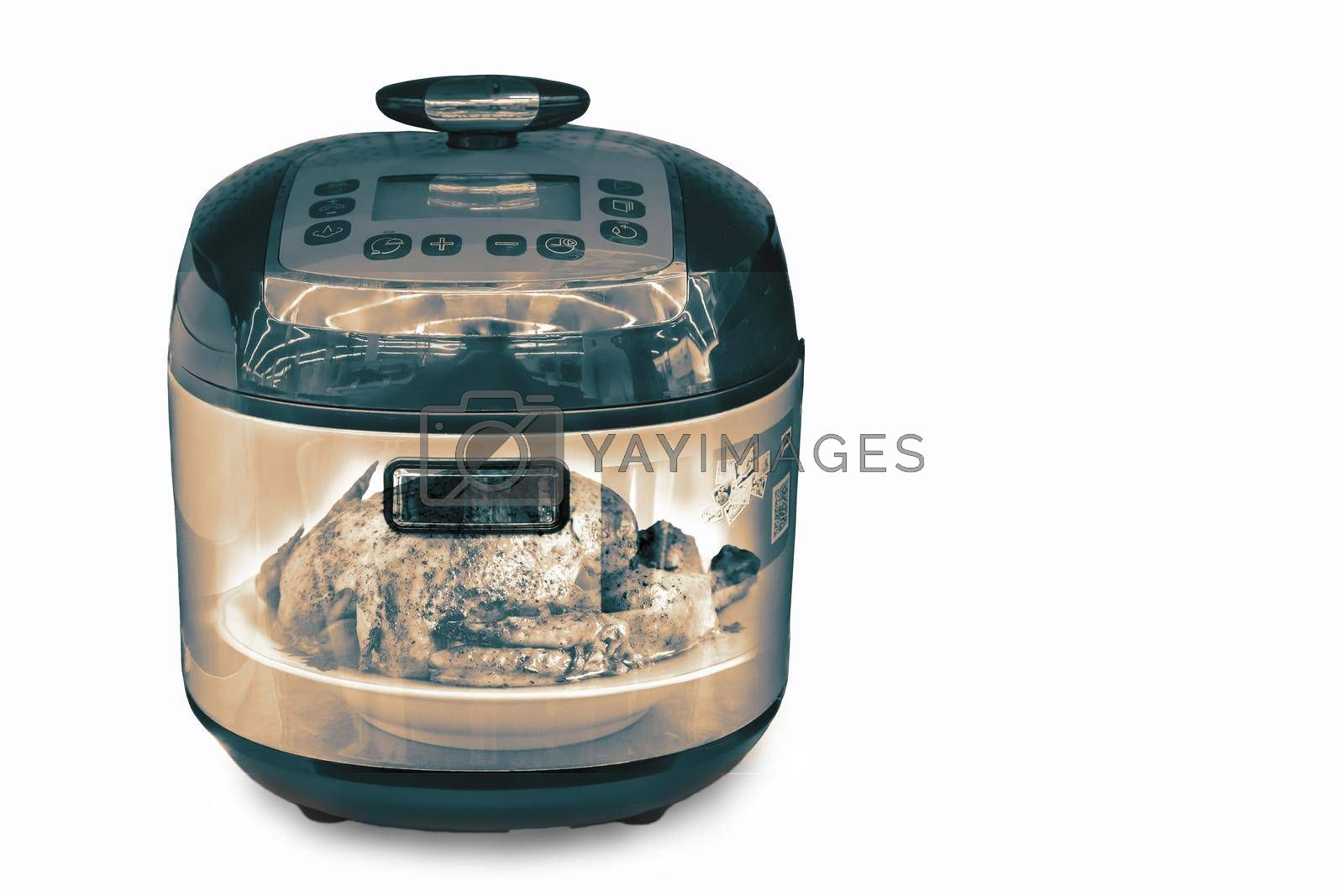 Home appliances: electric multifunction cooking pot . Presented on a white background.  The double exposure effect.