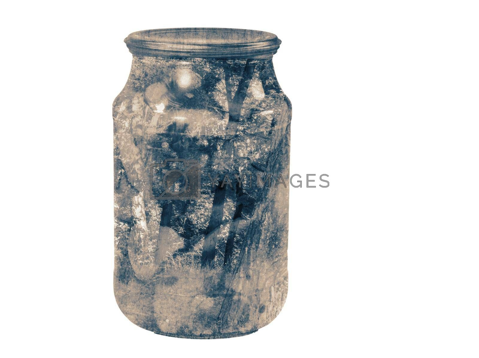 The double exposure effect: glass jar with mushrooms and the landscape. Presented on a white background.
