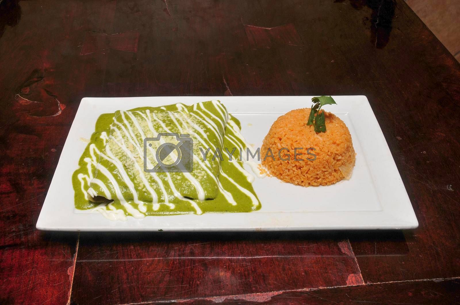 Authentic traditional Mexican cuisine dish known as Green Enchiladas