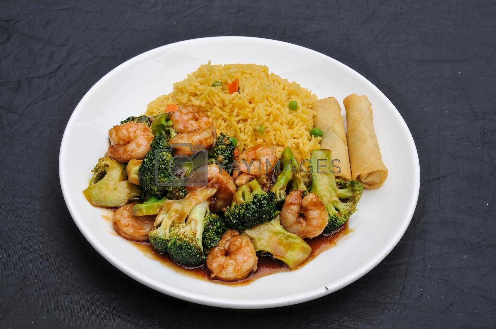 Authentic and traditional Chinese dish known as shrimp with broccoli