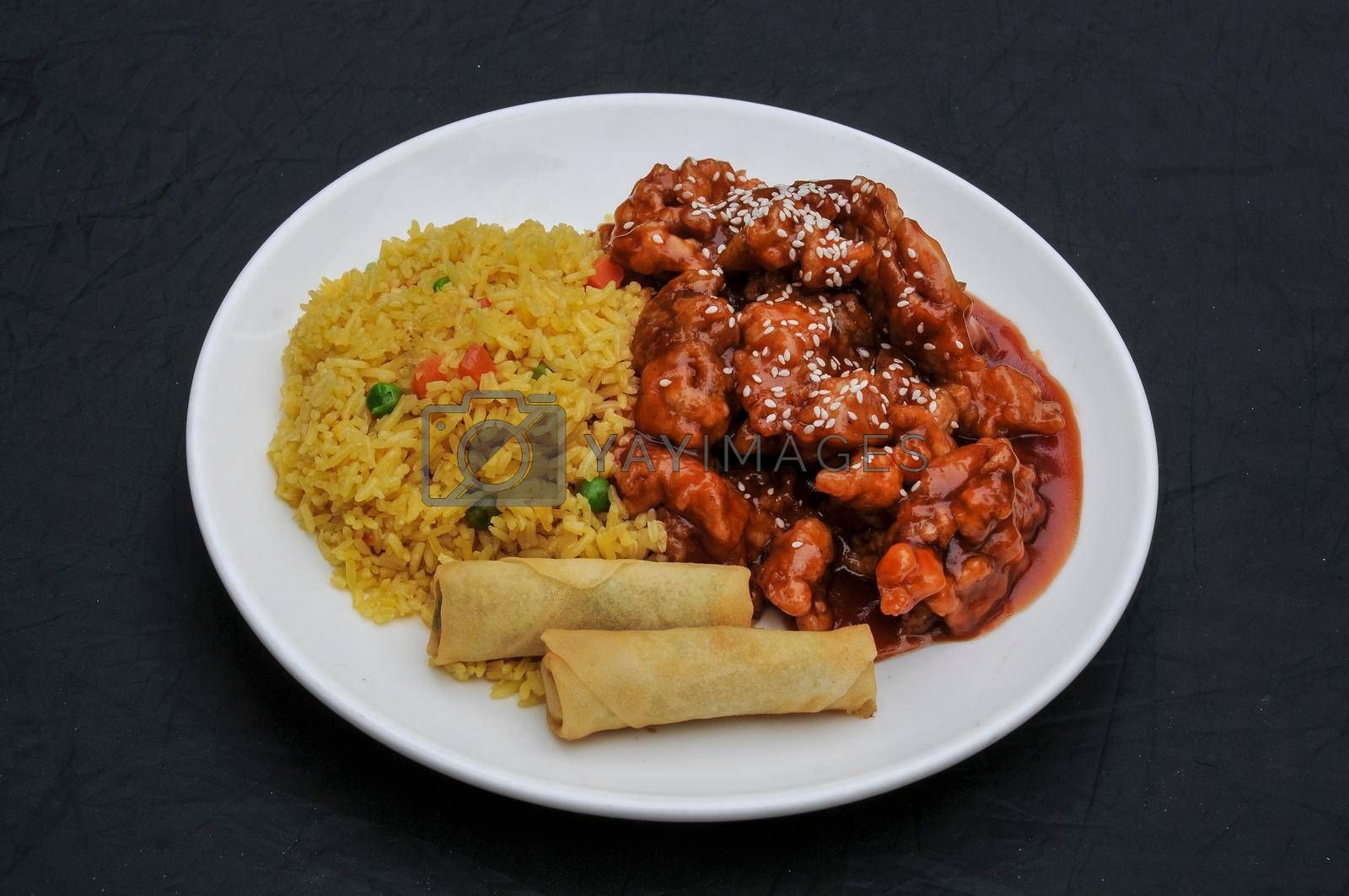Traditional and authentic Chinese cuisine known as sesame chicken