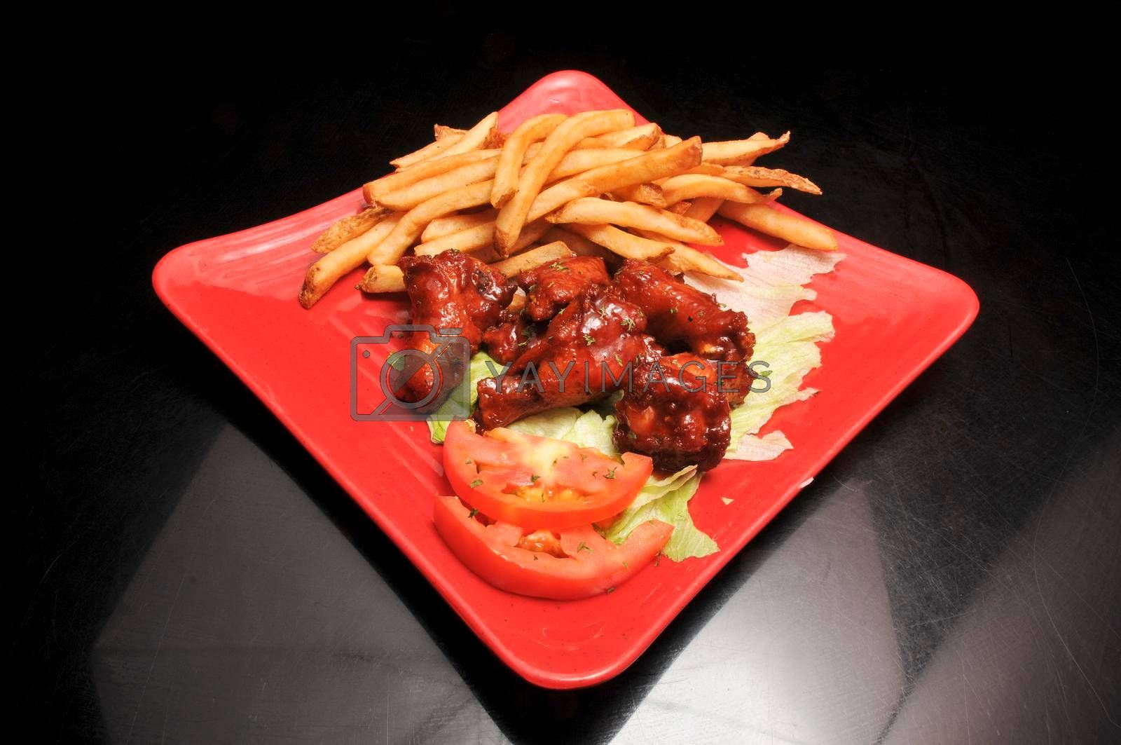 Authentic American cuisine food best known as barbeque wings