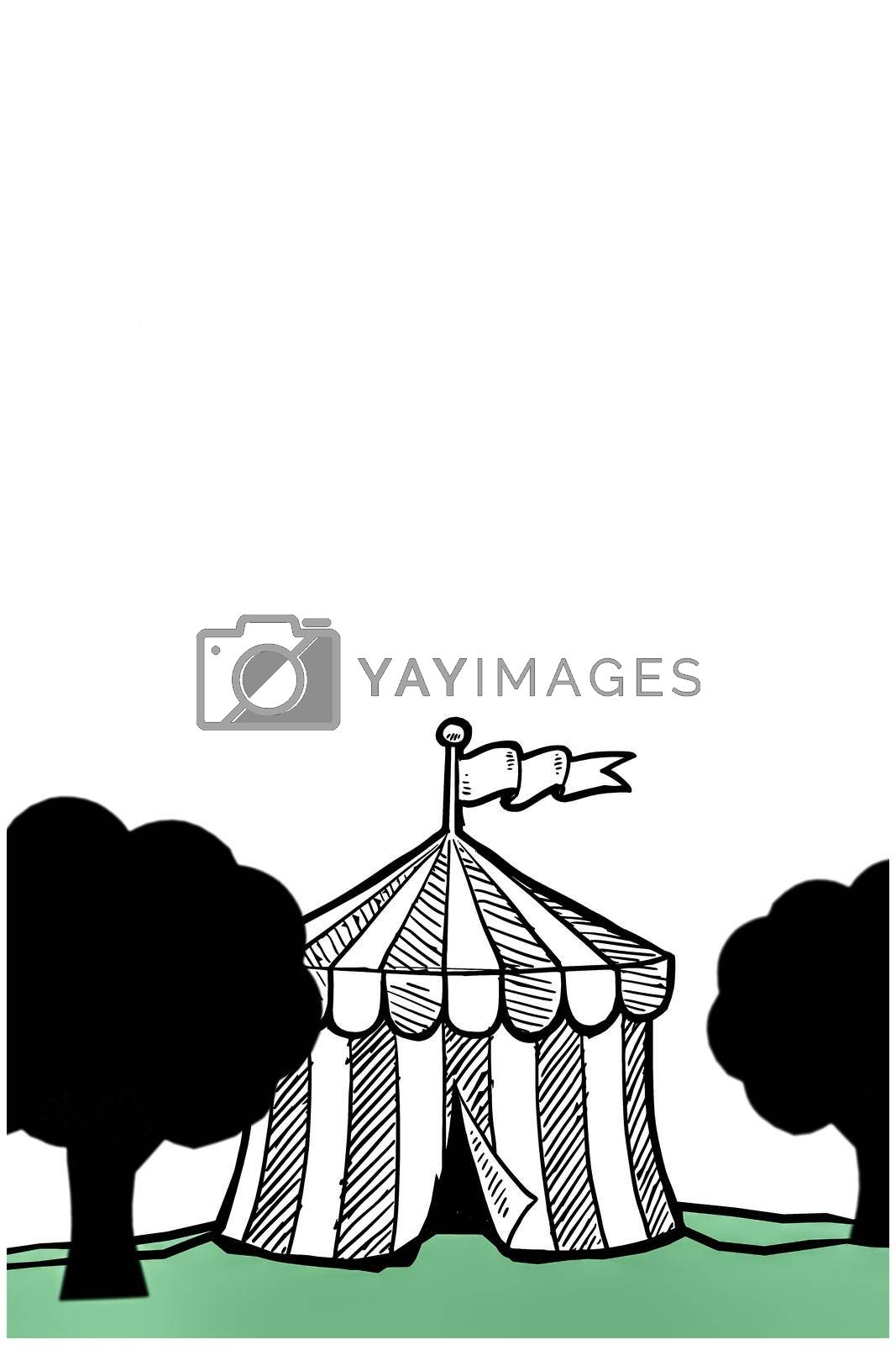 circus tent isolated on white background 3d illustration
