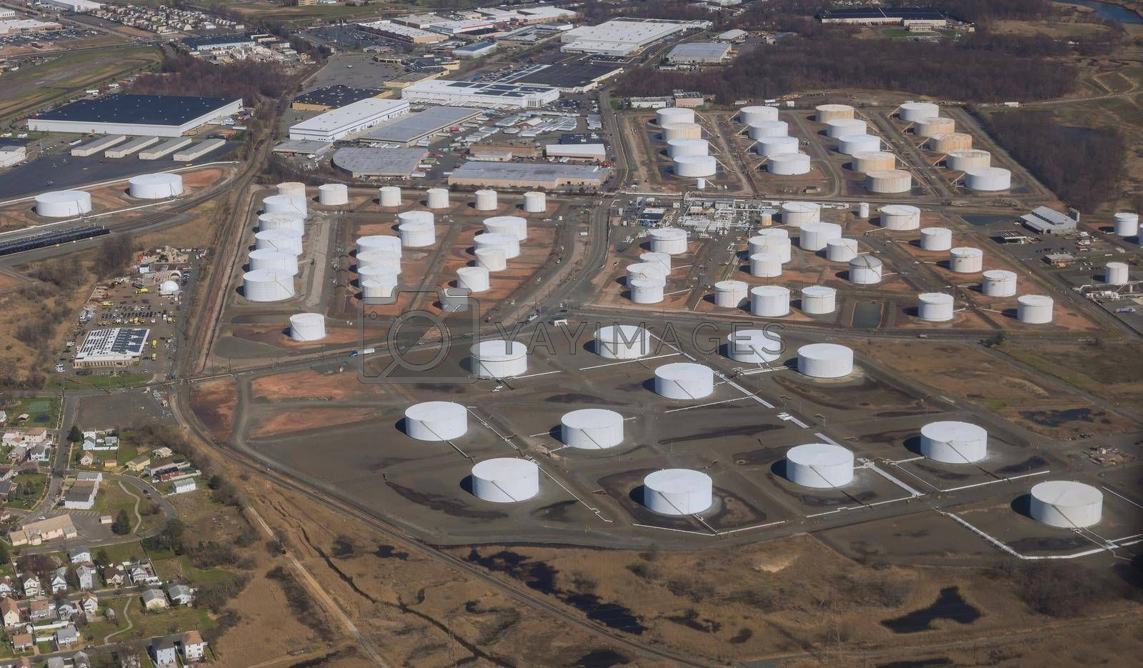 Oil refinery from above of oil tank industrial oil pipelines on zone industrial plant the equipment
