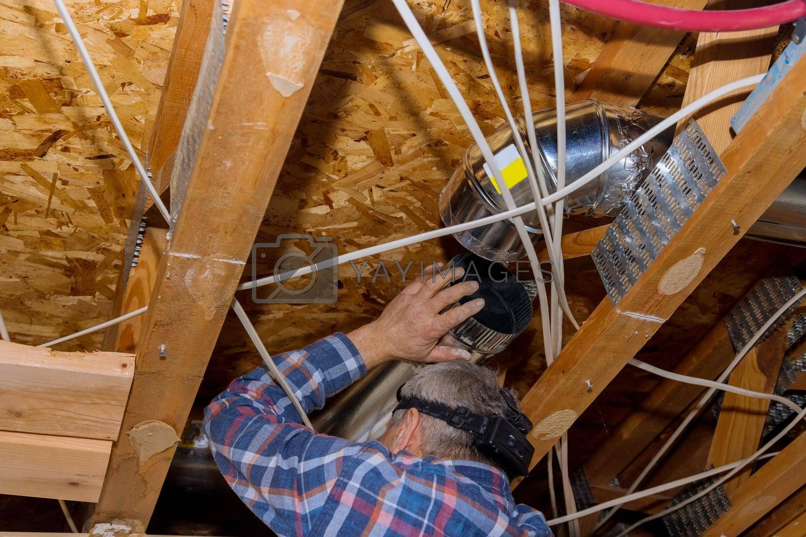 Remodelling home the installation in central conditioning a ceiling system HVAC duct ventilation pipes