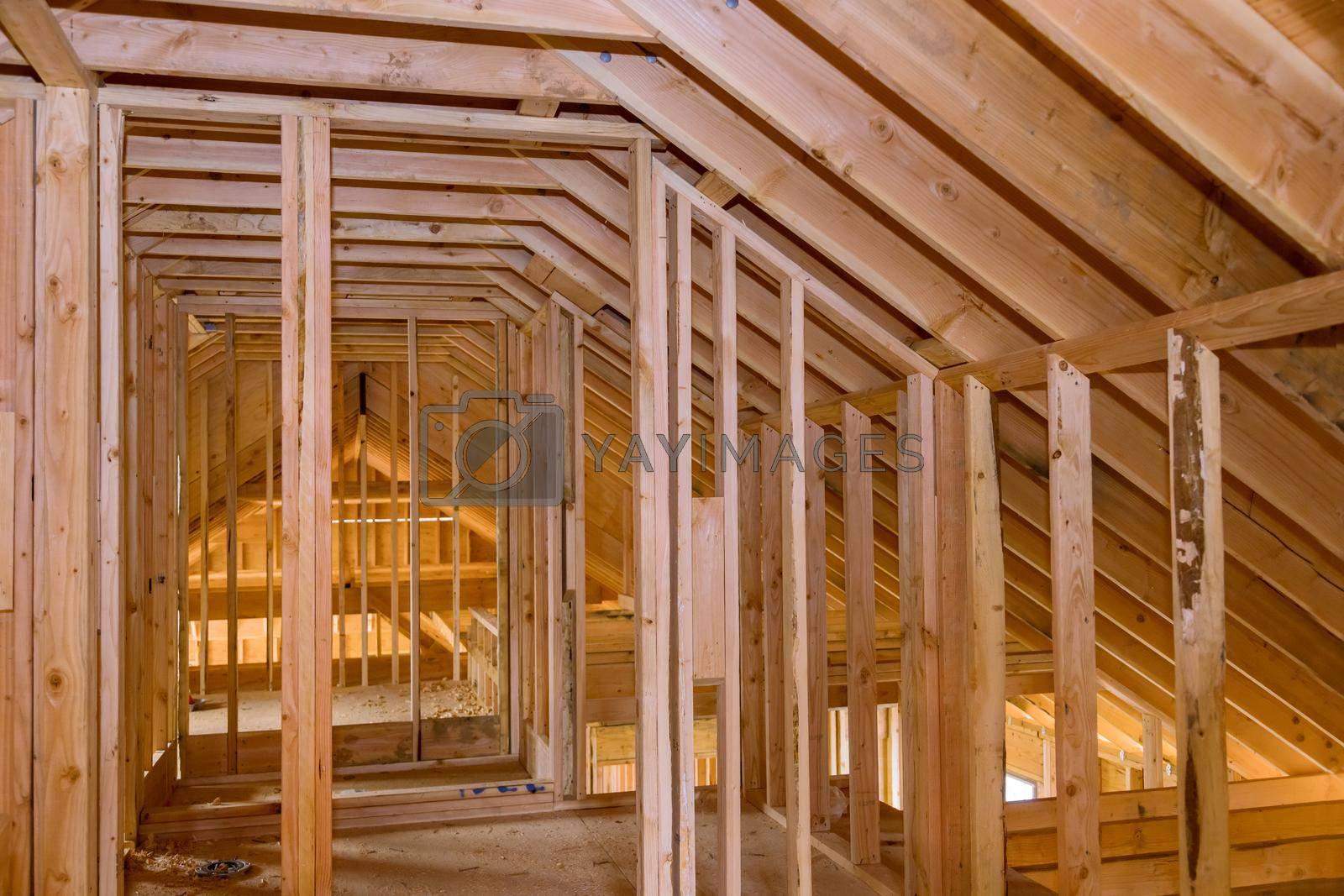 Wood framework of home residential beam under construction in progress