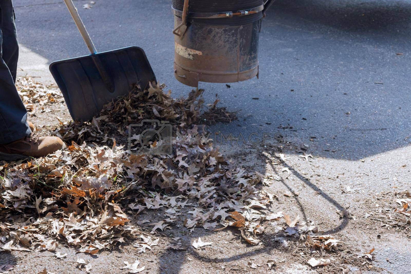 Man using a vacuum cleaner works in an autumn road, off leaves fallen from trees
