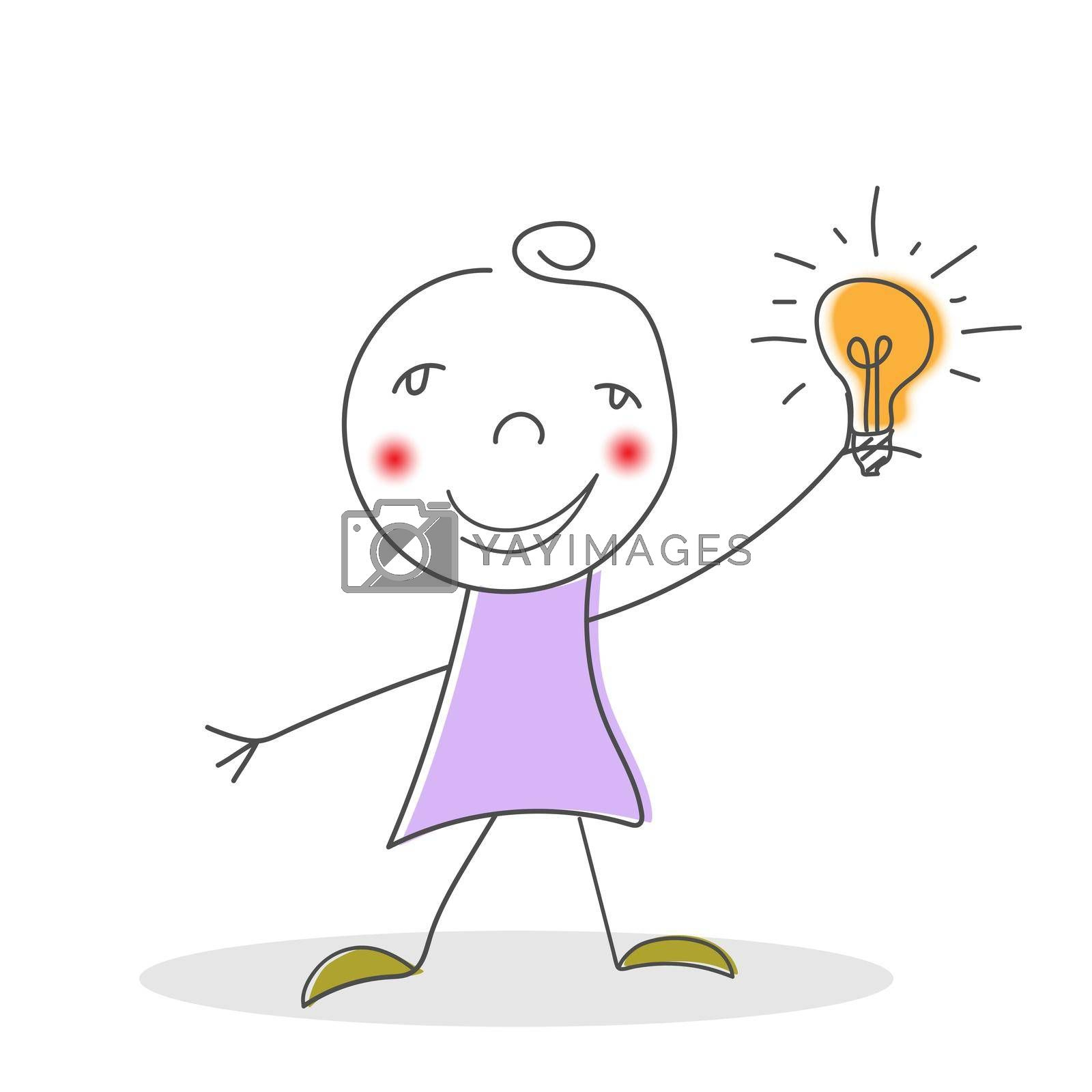 girl with an idea. A cartoon character of a girl holds a glowing light bulb in her hand. Flat style.