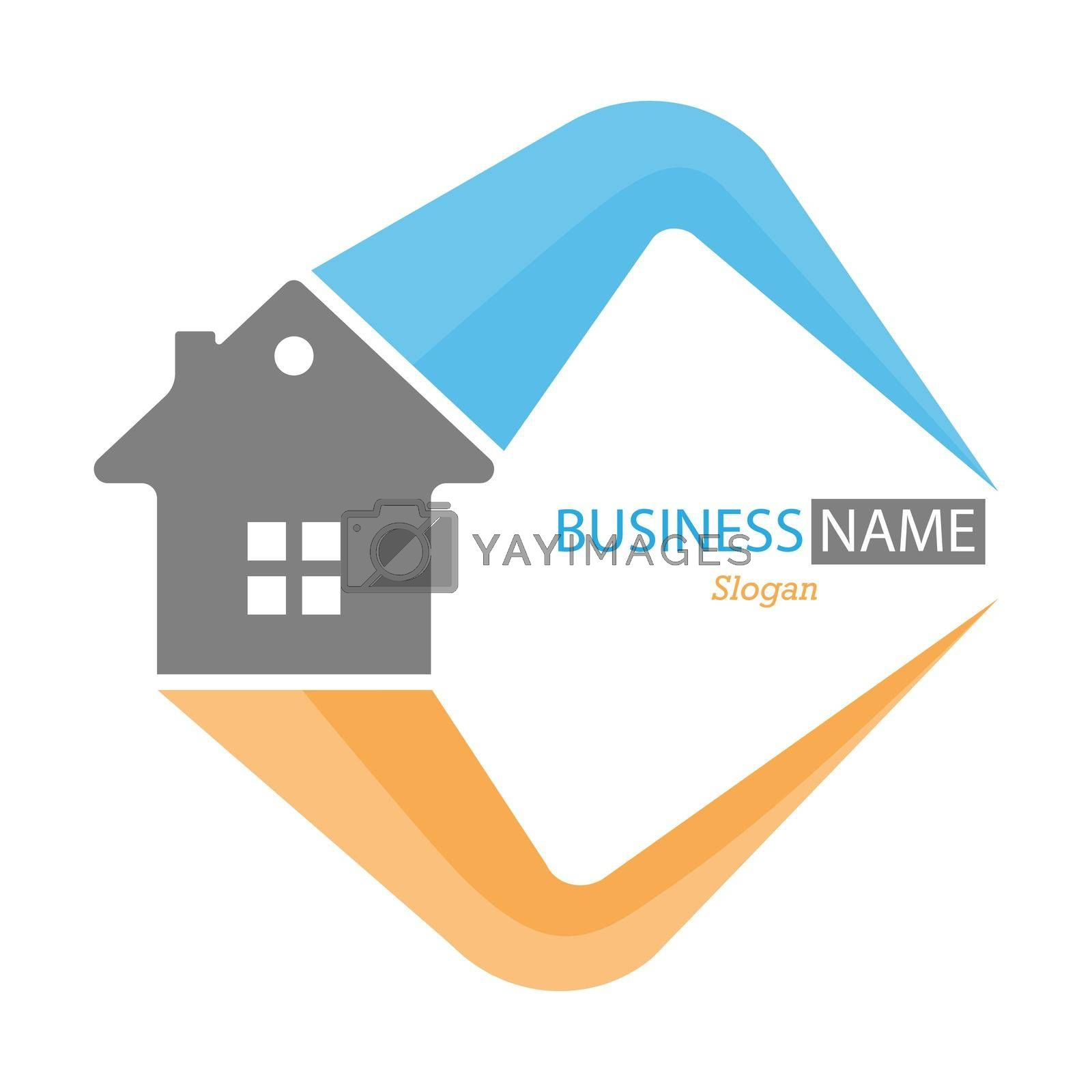Royalty free image of Editable template for logo, brand, emblem or sticker. Brand of construction company, business of hiring, buying and selling home by Grommik