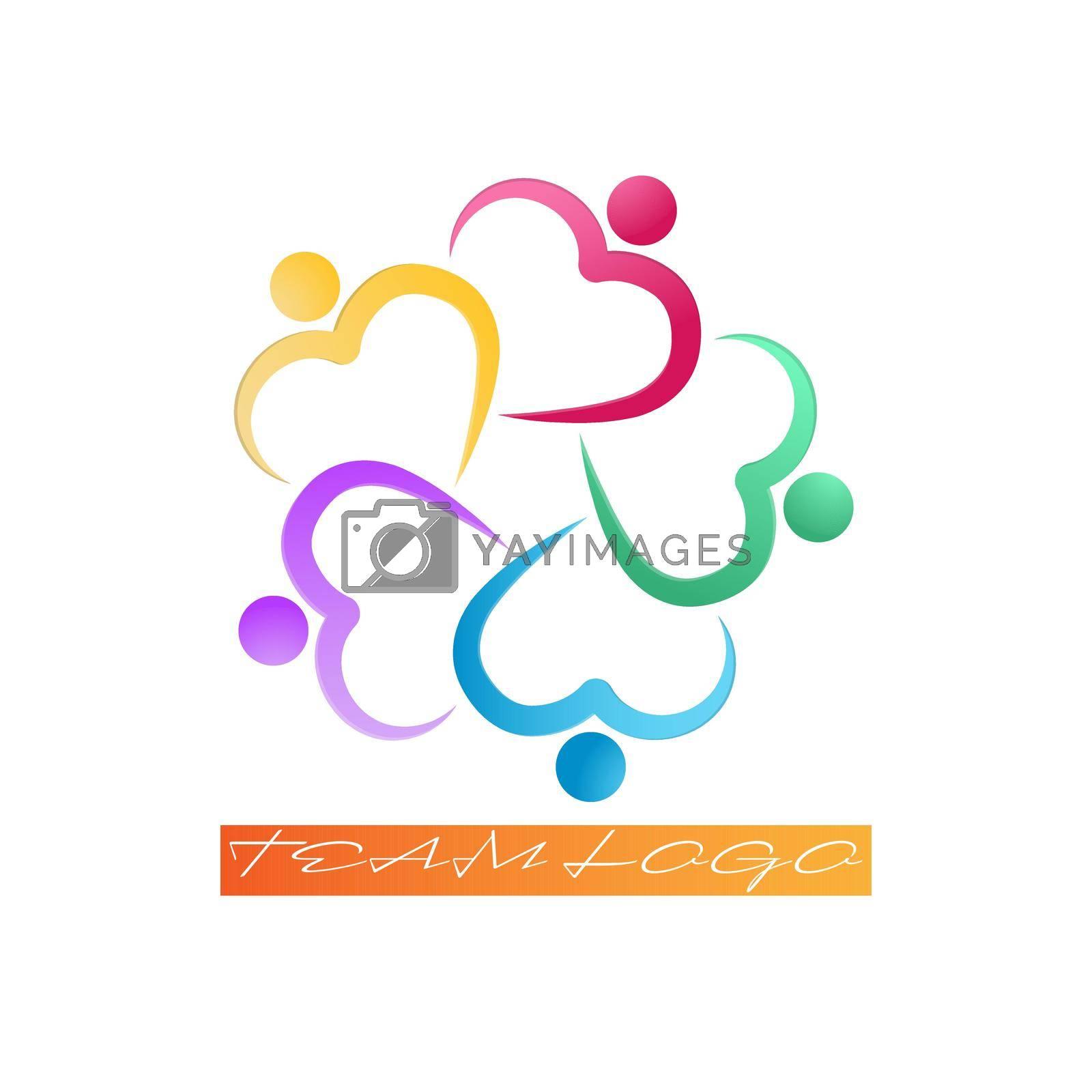 Team logo, like-minded people or friends, social logo. Hugging hearts. Simple design.
