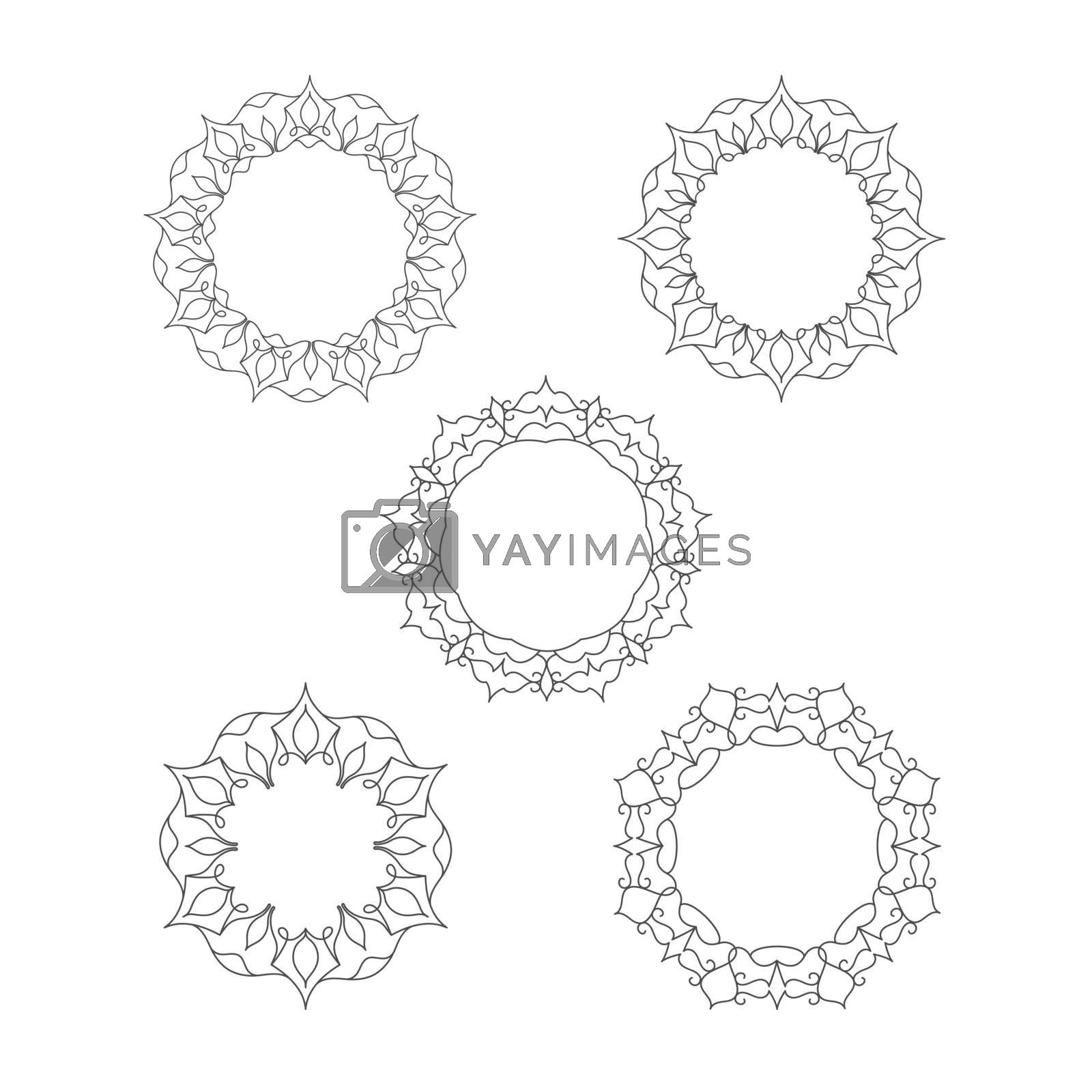 set of decorative patterned frames for photos, illustrations, text, and creative design. Flat style.