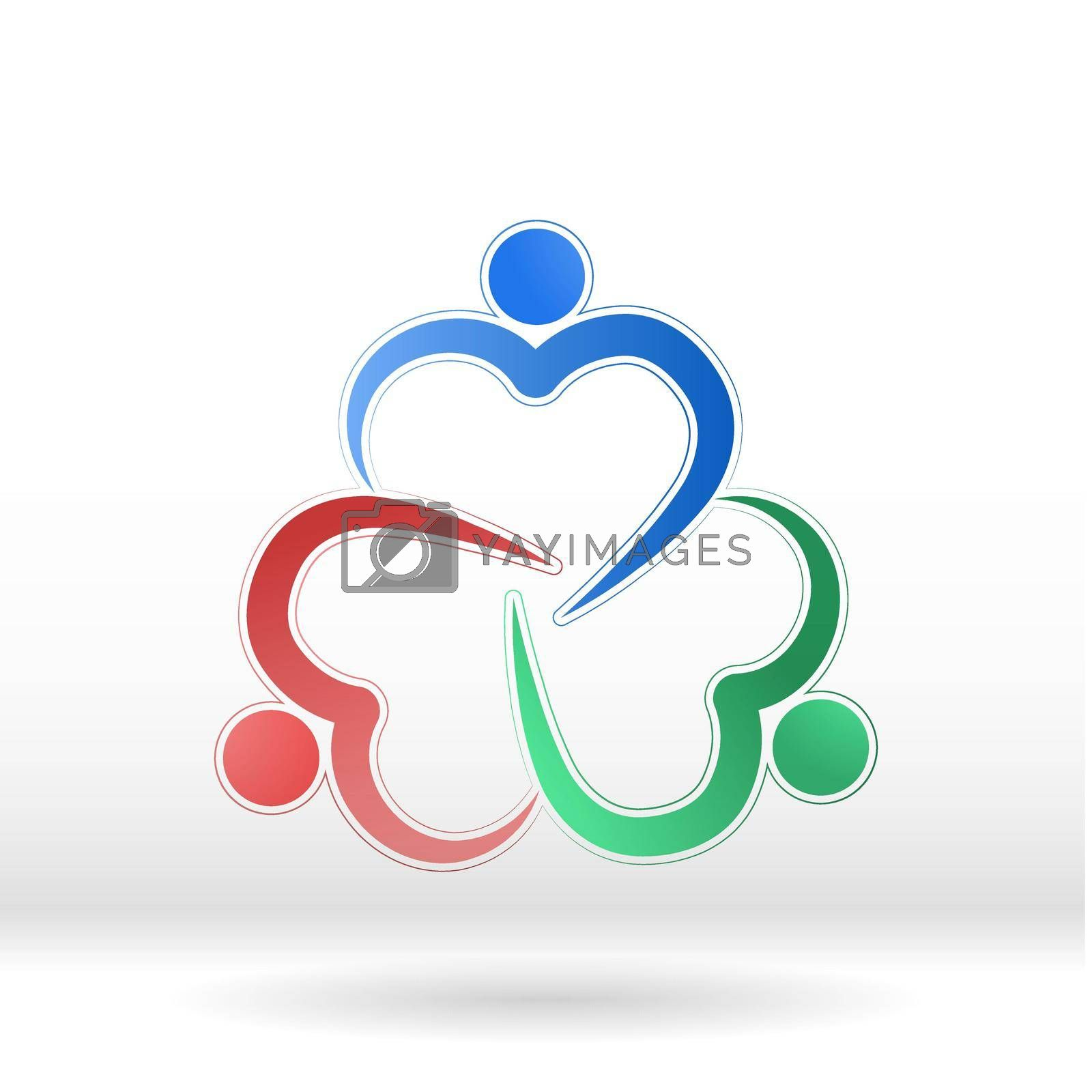 Royalty free image of Team logo, like-minded people or friends, social logo. Hugging hearts by Grommik