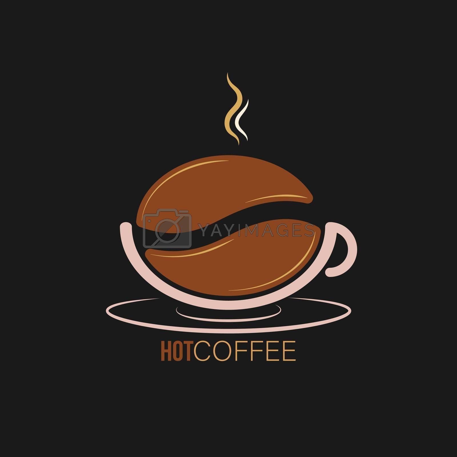 Royalty free image of logo, coffee shop, coffee house, and creative business design. A cup of coffee and a coffee bean by Grommik