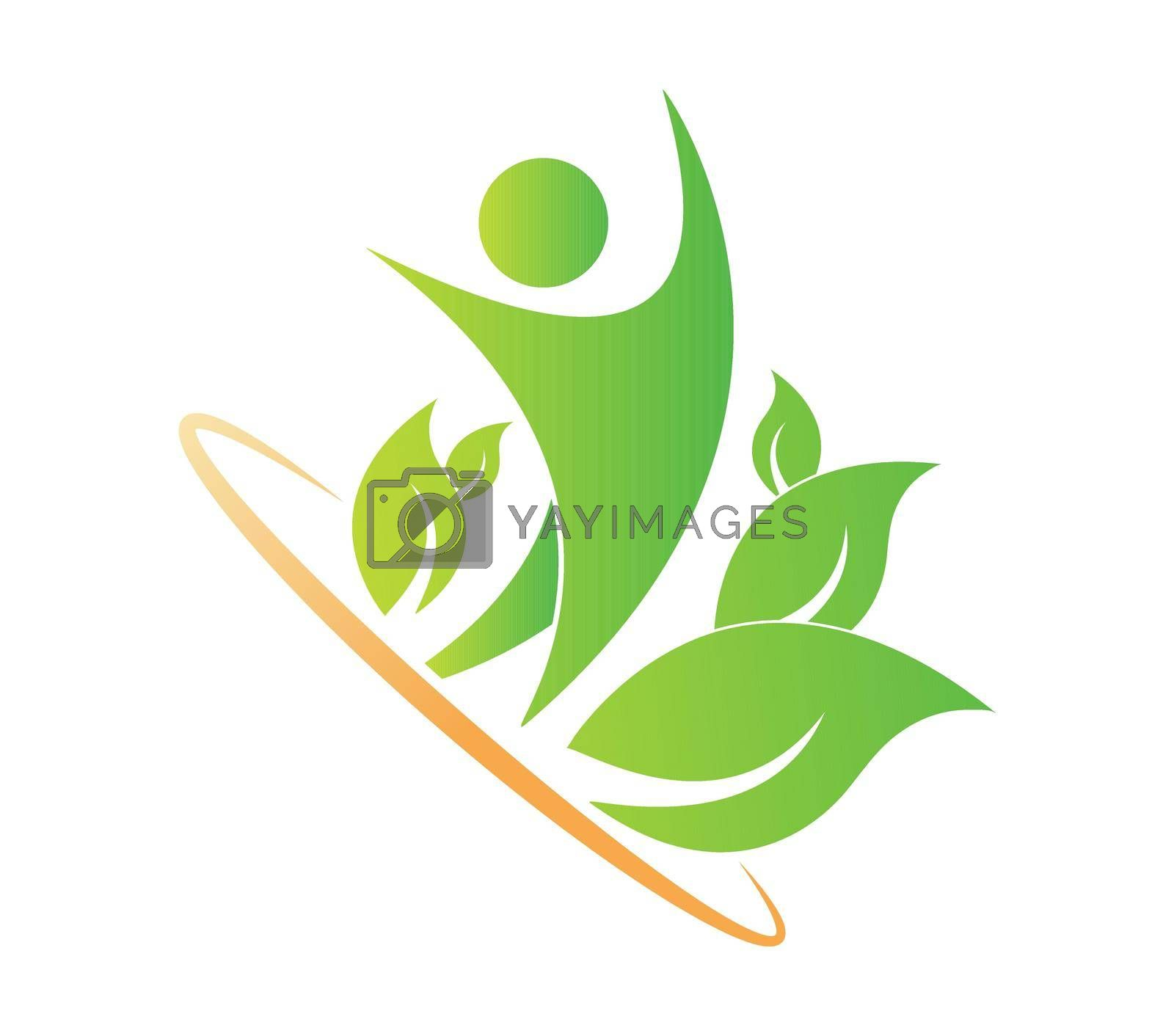 Royalty free image of Logo of a healthy lifestyle, unity with nature, ecology by Grommik