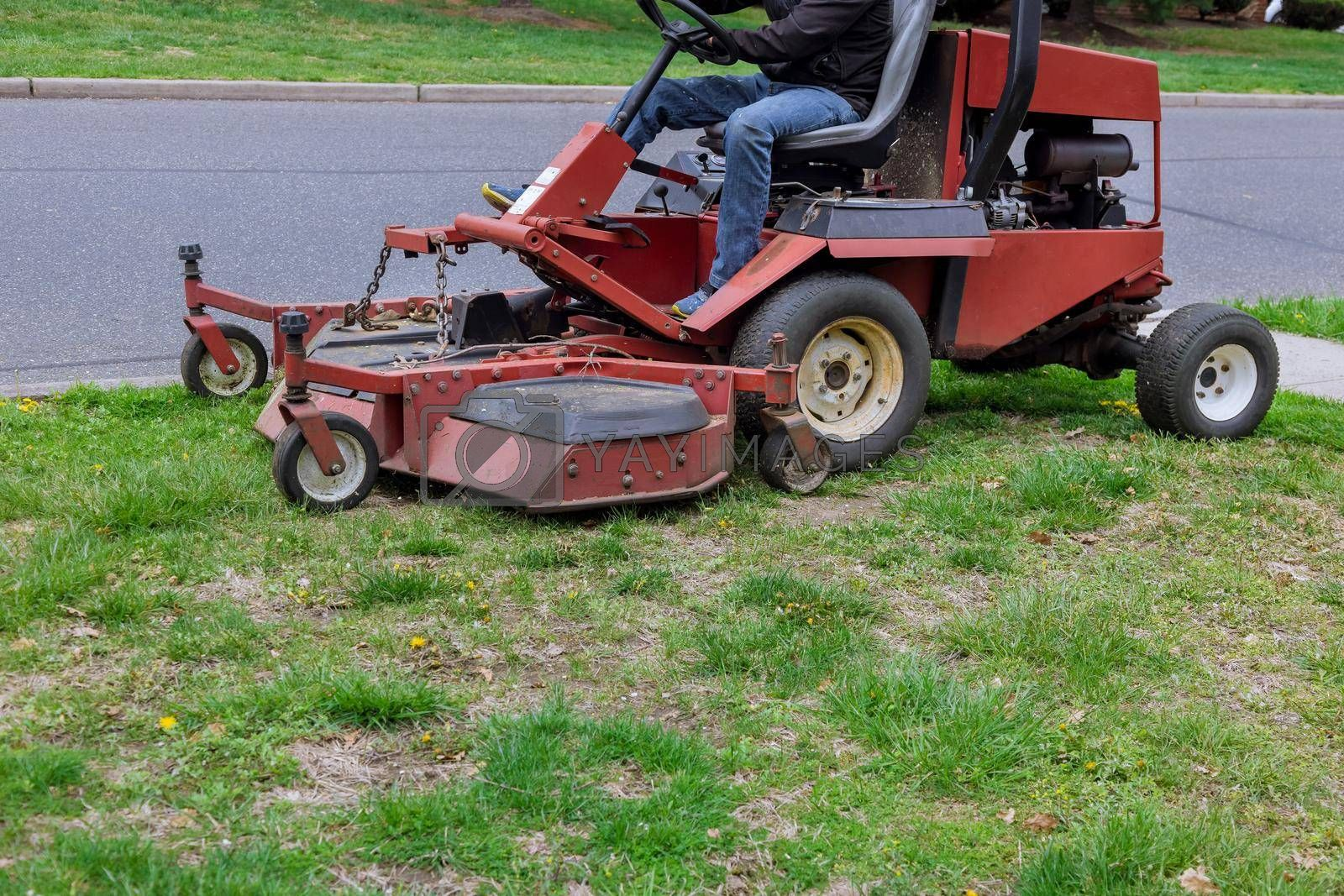 Royalty free image of Lawn mower cutting green grass in gardening backyard by ungvar