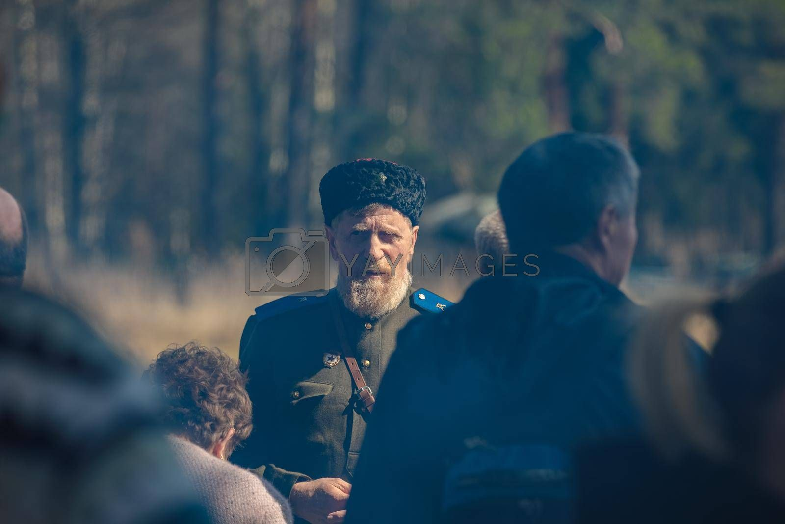Reconstruction of the Second World War. Russian partisan commander. The Great Patriotic War. Liberation of Odessa. Zelenograd Russia April 18, 2021
