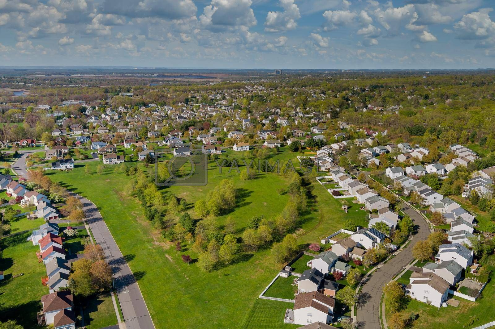Panorama top view small american town urban lifestyle district landscape