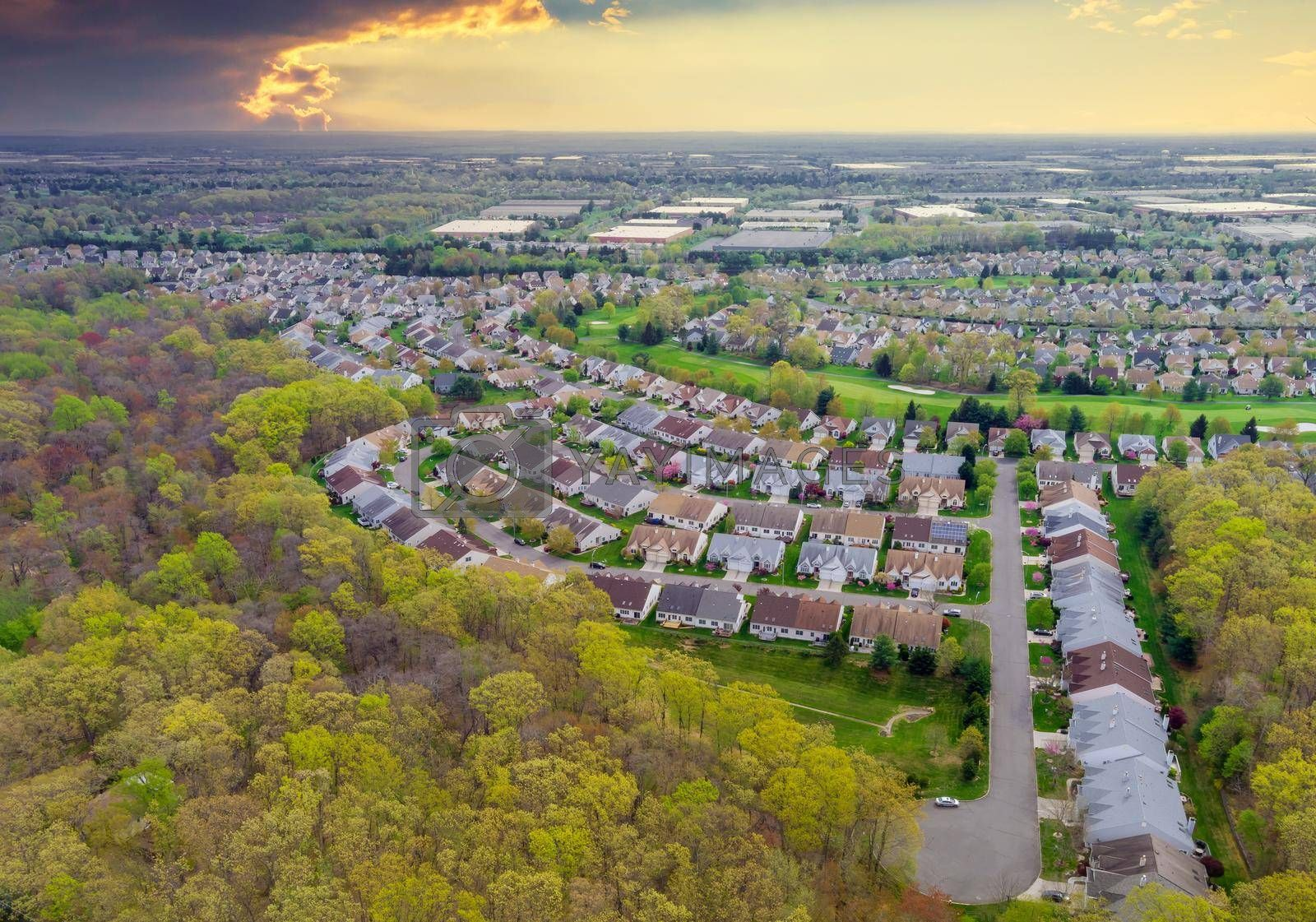 Panorama view of american small town residential houses neighborhood housing development suburban complex