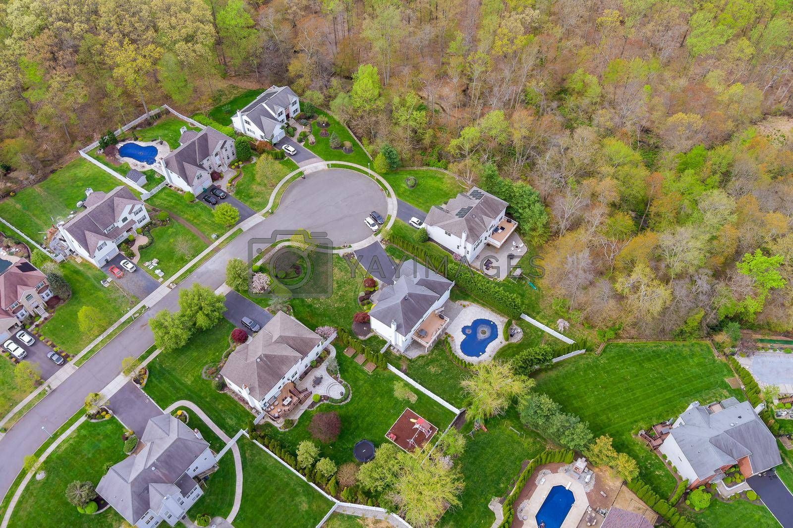 Aerial view on small american town a sleeping area home roofs urban landscape