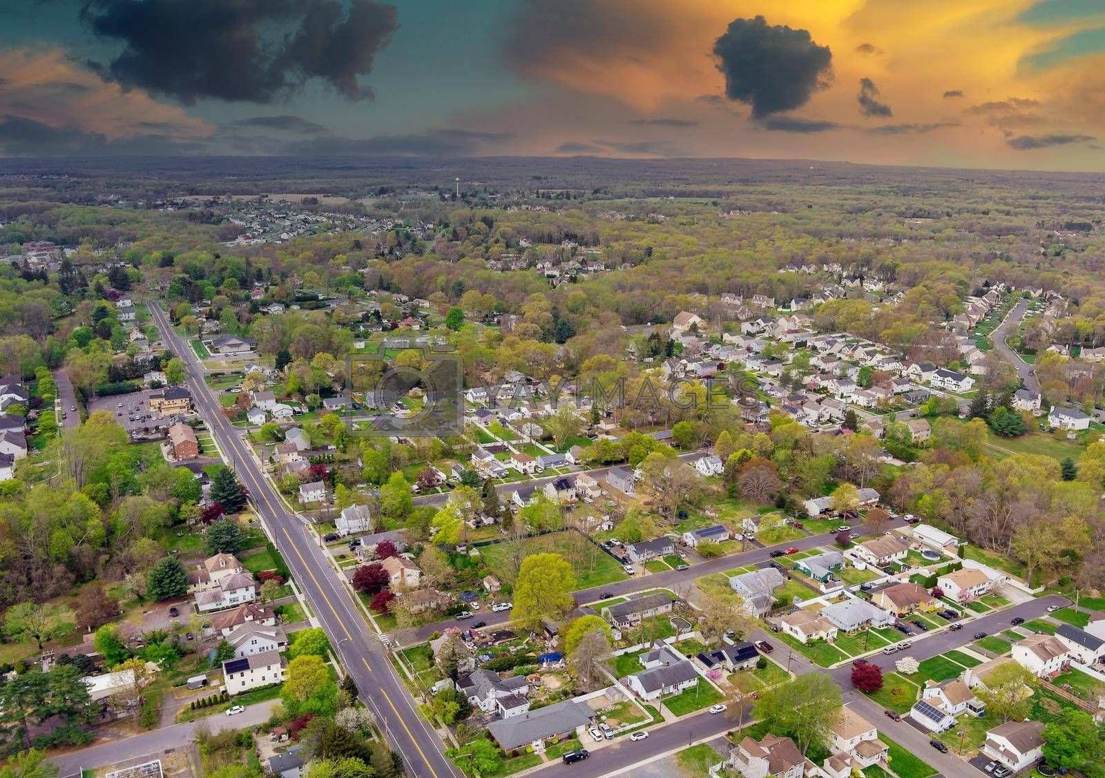 Panorama view landscape on small american town district with houses and roads
