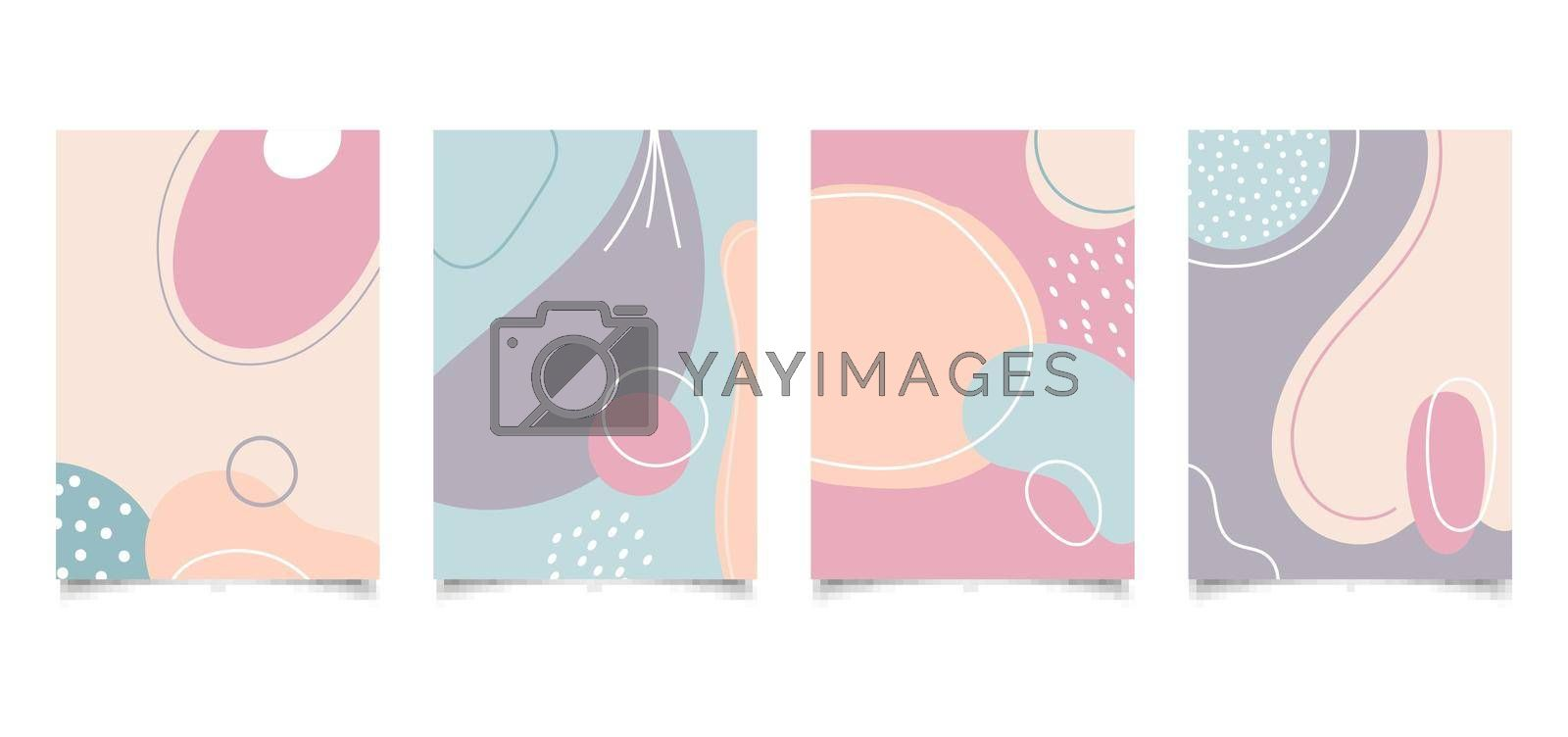 Set of abstract creative background hand drawn organic shape pastel color with lines in minimal trendy style. You can use for design templates brochure, poster, banner, social media stories, etc. Vector illustration