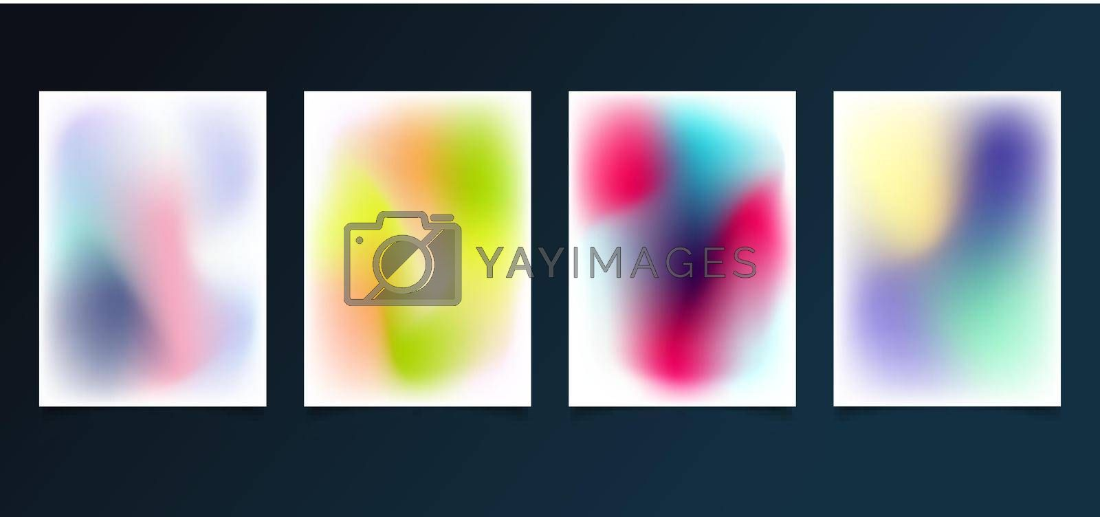 Set of modern template abstract blurred gradient smooth color background. You can use for brochure, poster, banner, social media stories, etc. Vector illustration