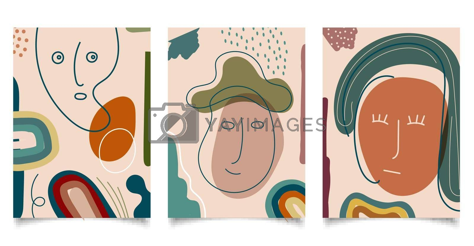 Set of template background abstract hand drawn face line and various shapes doodle objects contemporary modern trendy style. Vector illustration