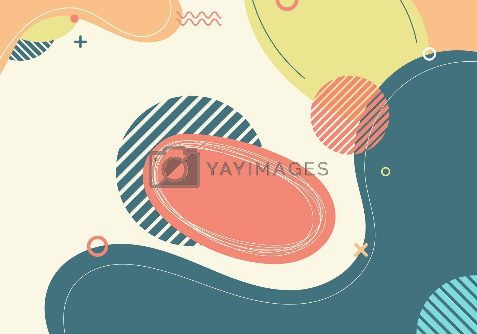 Banner web template abstract green organic fluid shape with circle line pattern on white background. Vector illustration