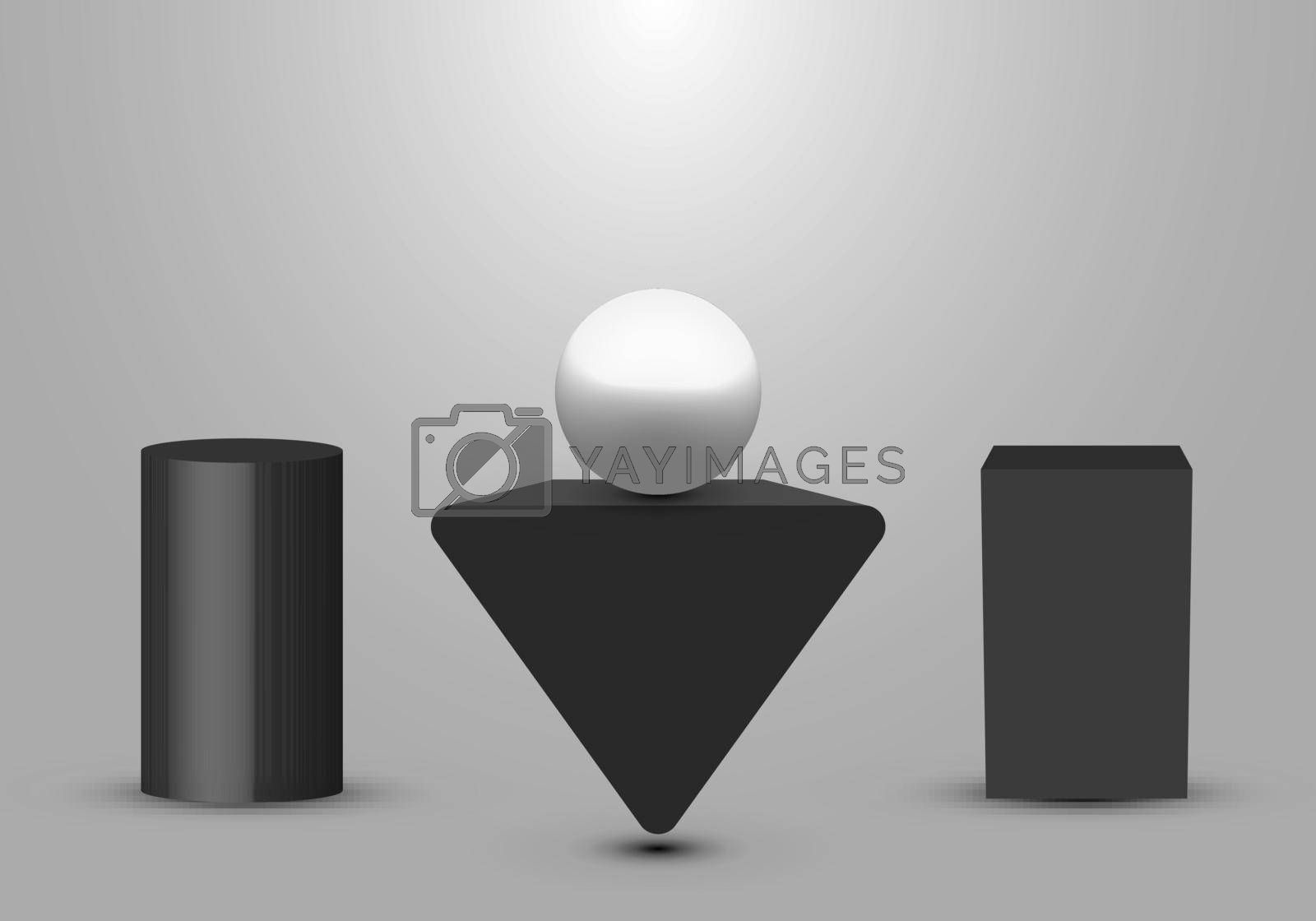 3D realistic black geometric pedestal, triangle, box studio room with light product shelf on white background. Vector illustration