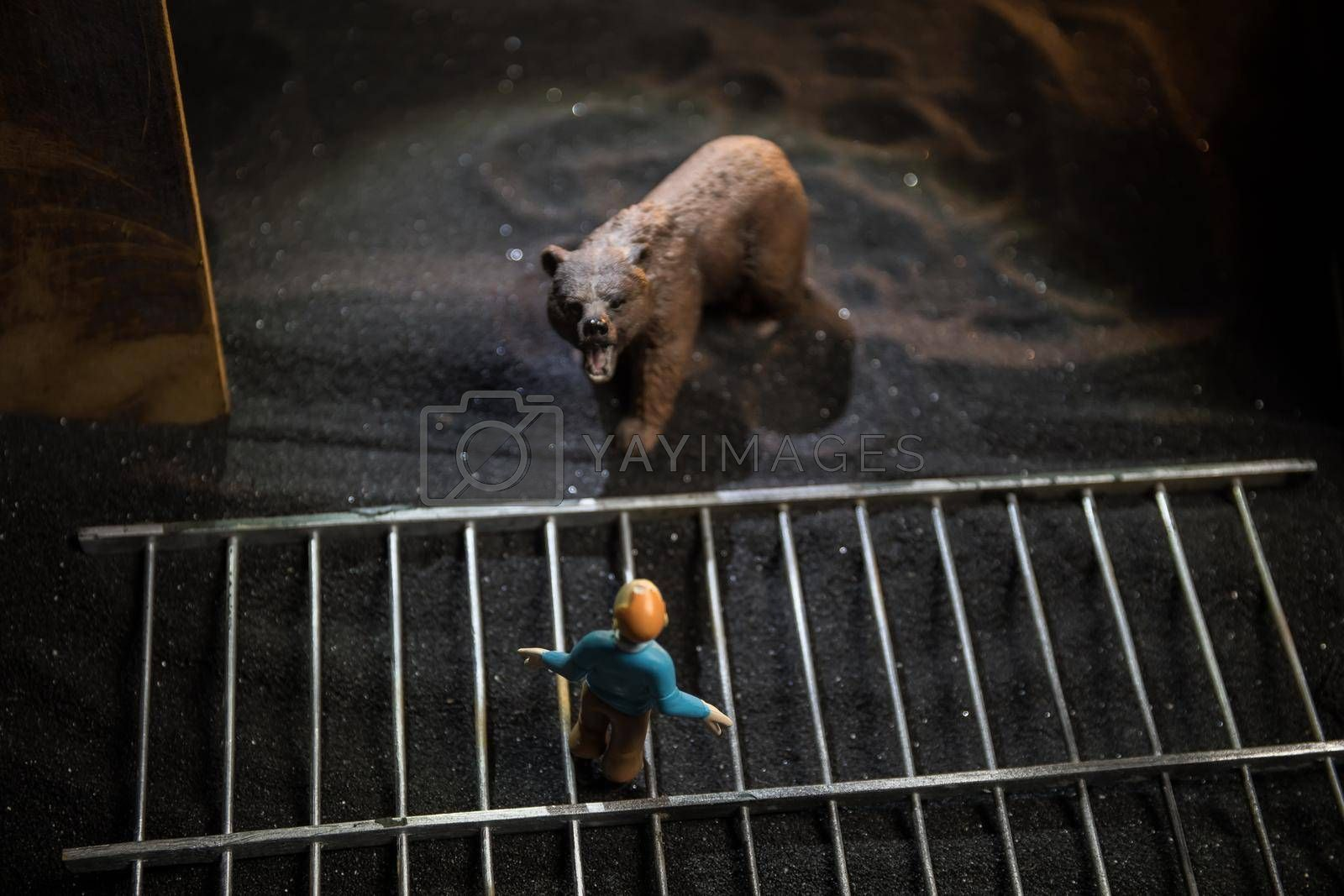 Silhouette of a Bear miniature standing in a zoo cage with scared man ready to attack. Creative decoration with colorful backlight with fog. Selective focus