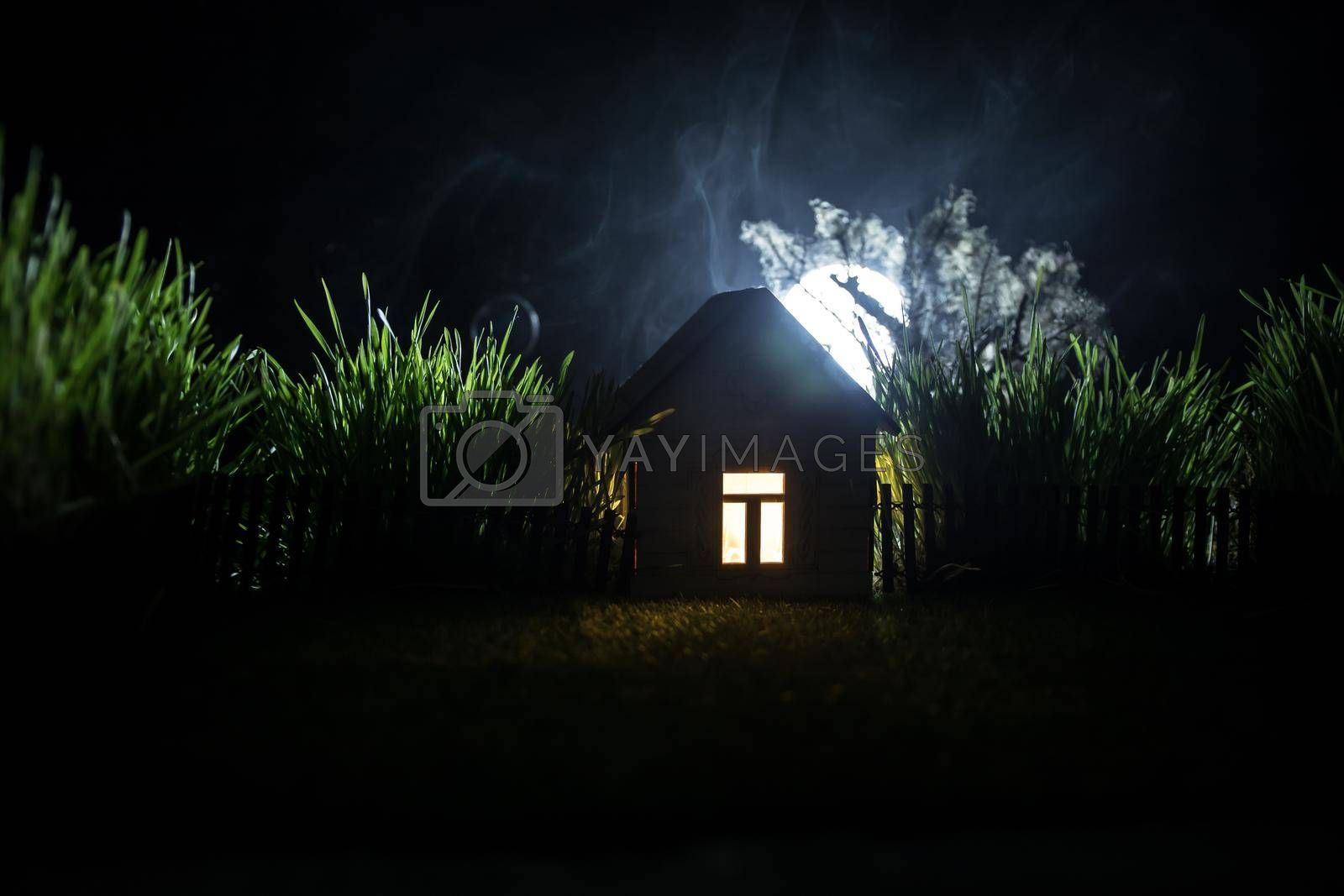 Full moon over quiet village at night. Decorative toy house with giant green grass under the moonlight. Selective focus
