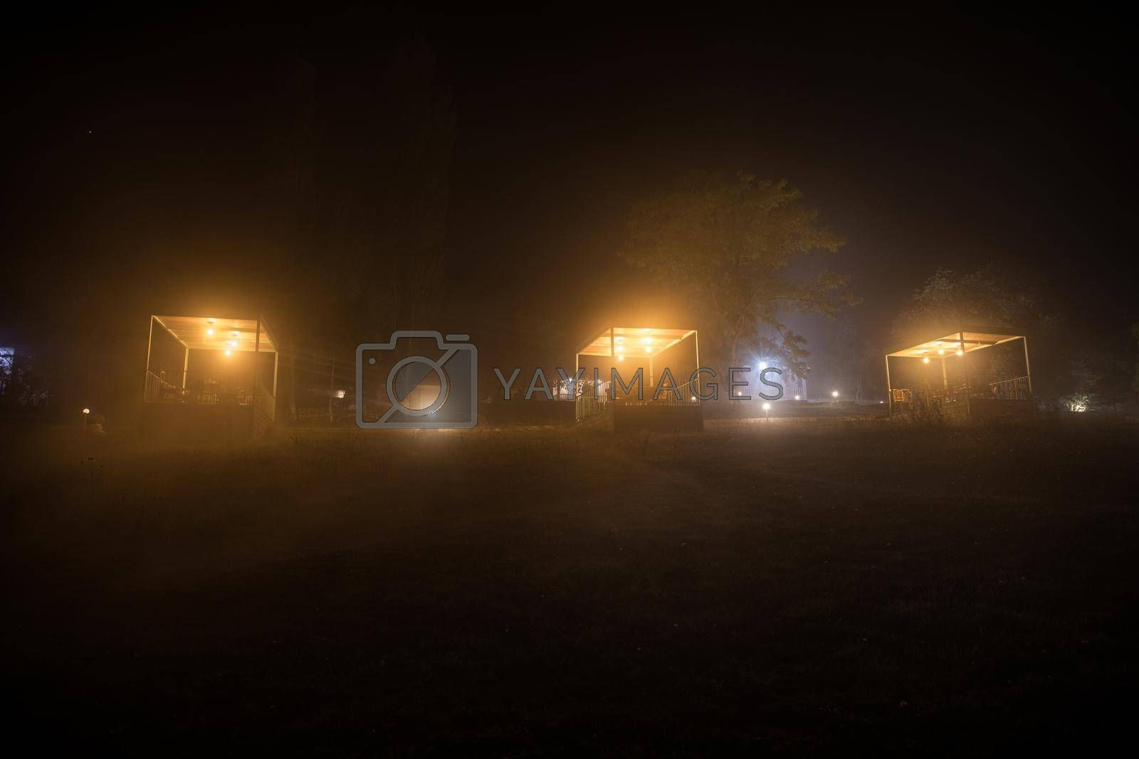 Gazebo with lights/gazebo at night/a gazebo lit up at night or Trees and street lamps on a quiet foggy night. Foggy misty evening lamps in empty road at forest.