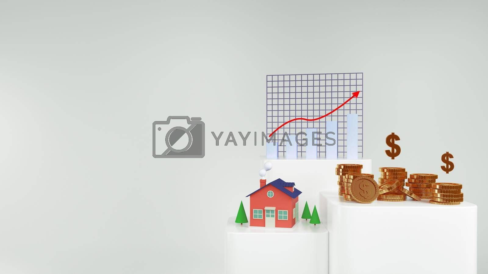 3d Render money home and golden coins and Stock chart  on white background