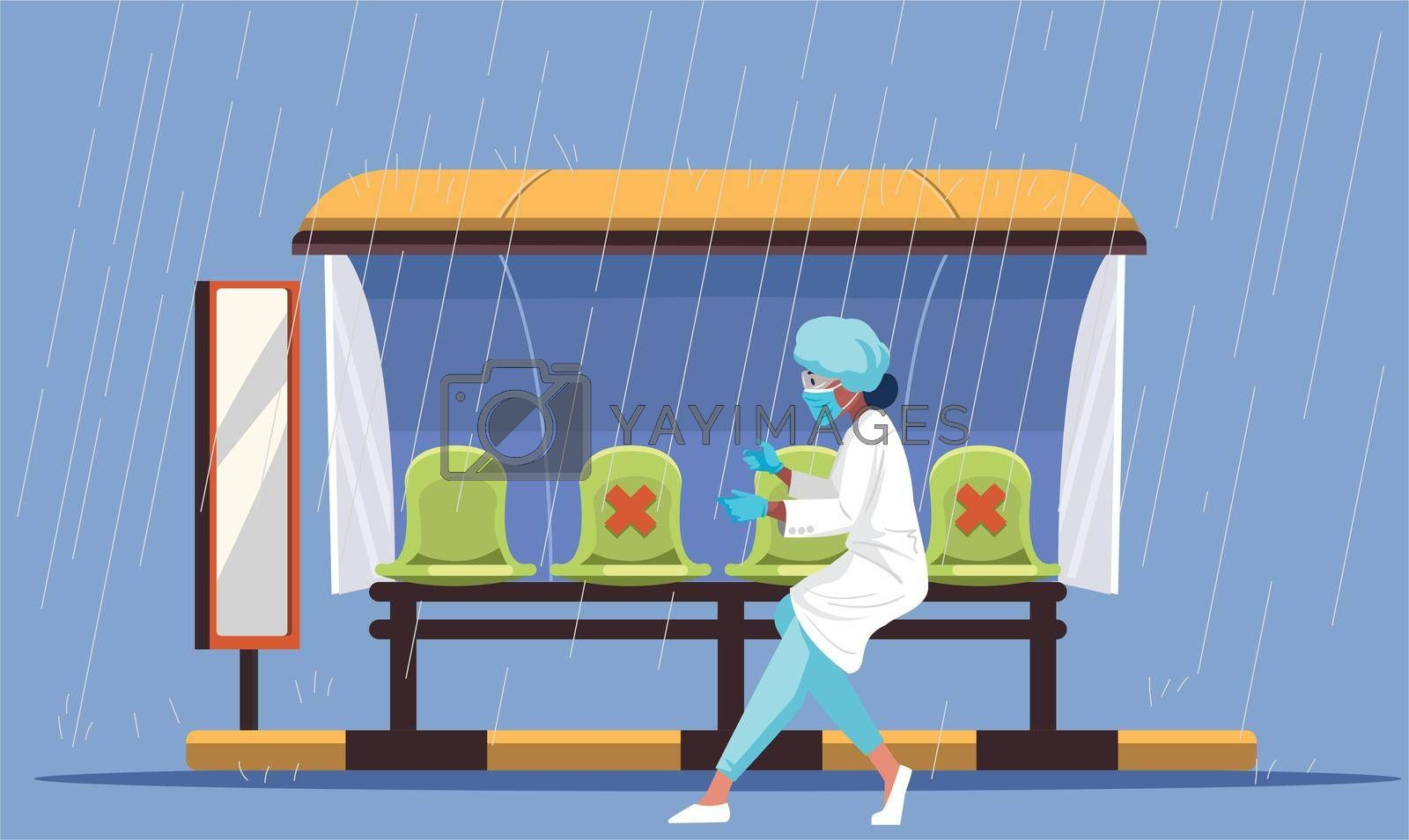 a woman is running on the road during rain