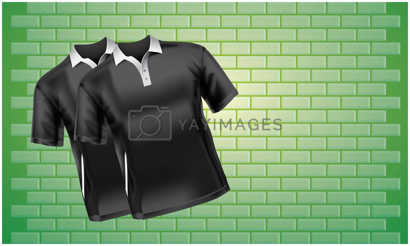Mock up of pair of T shirts on abstract green background