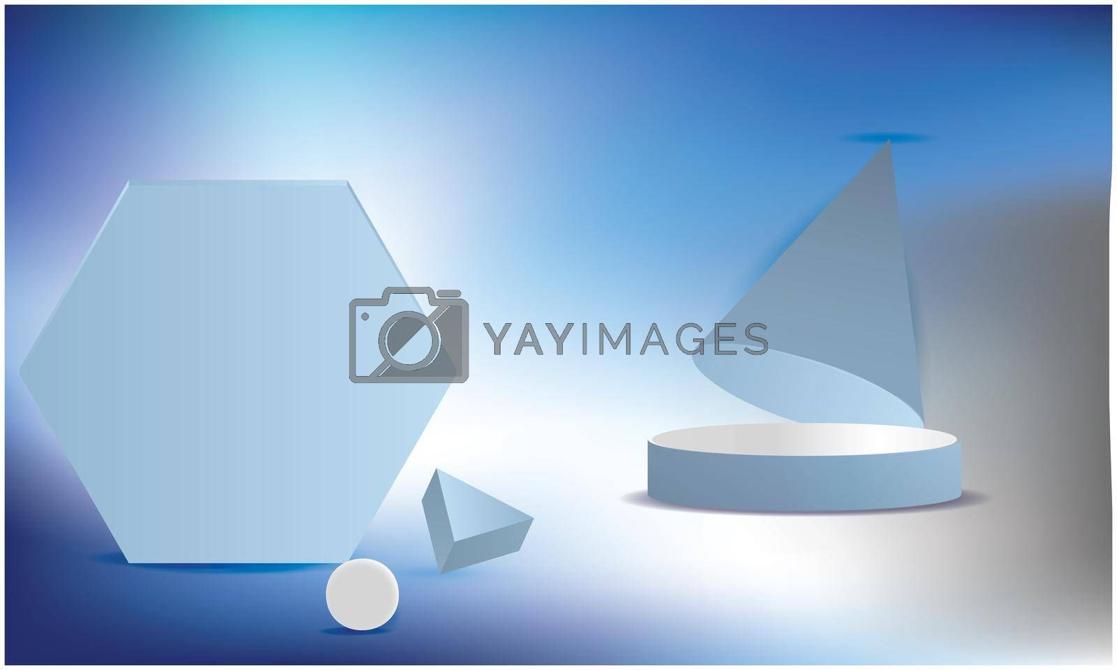 bright hexagon and triangle cone on abstract blue background