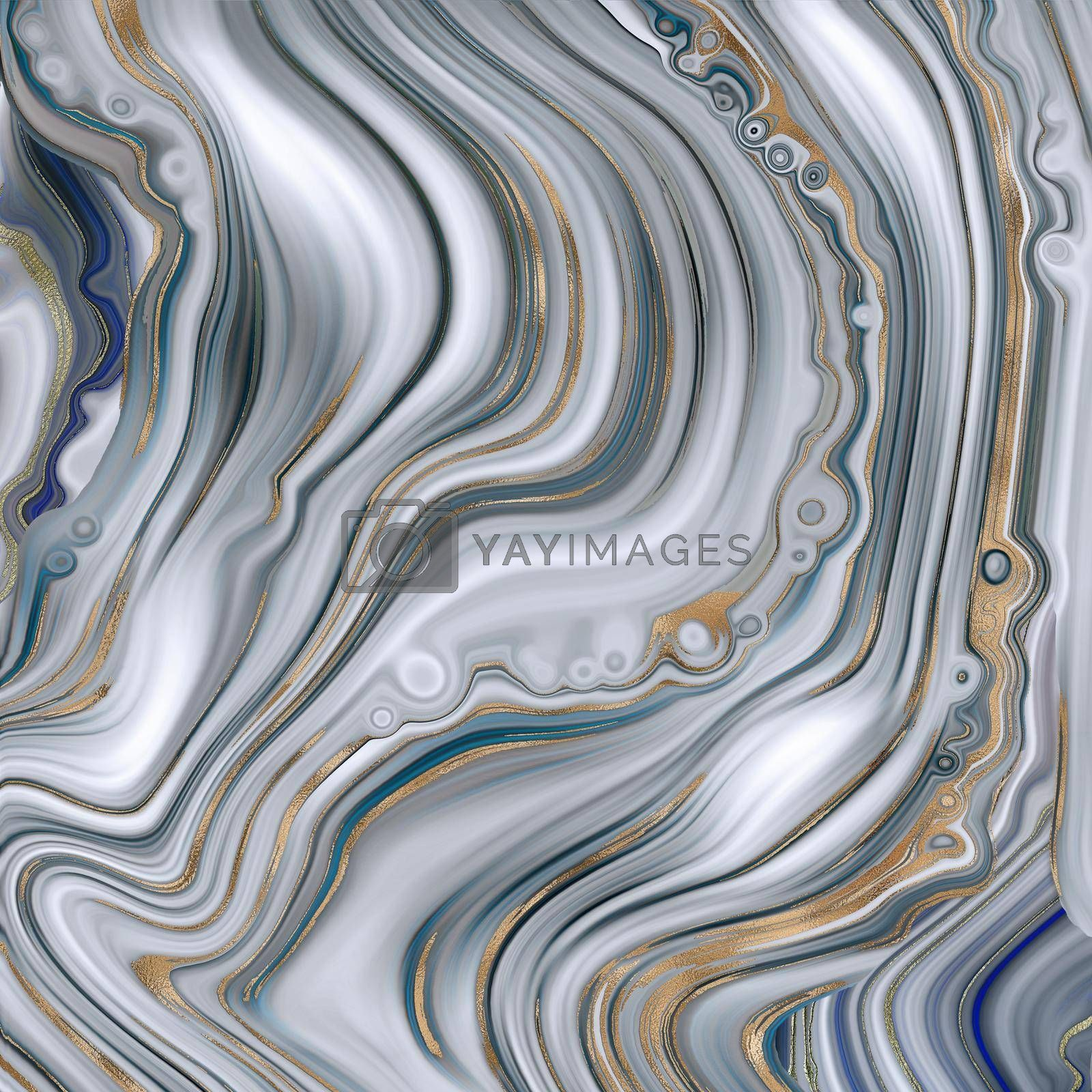 Abstract agate marble background in pastel blue, fake stone texture, trendy blue white marbling effect with gold veins, creative agate, artistic marble agate stone. Modern marbled surface Illustration