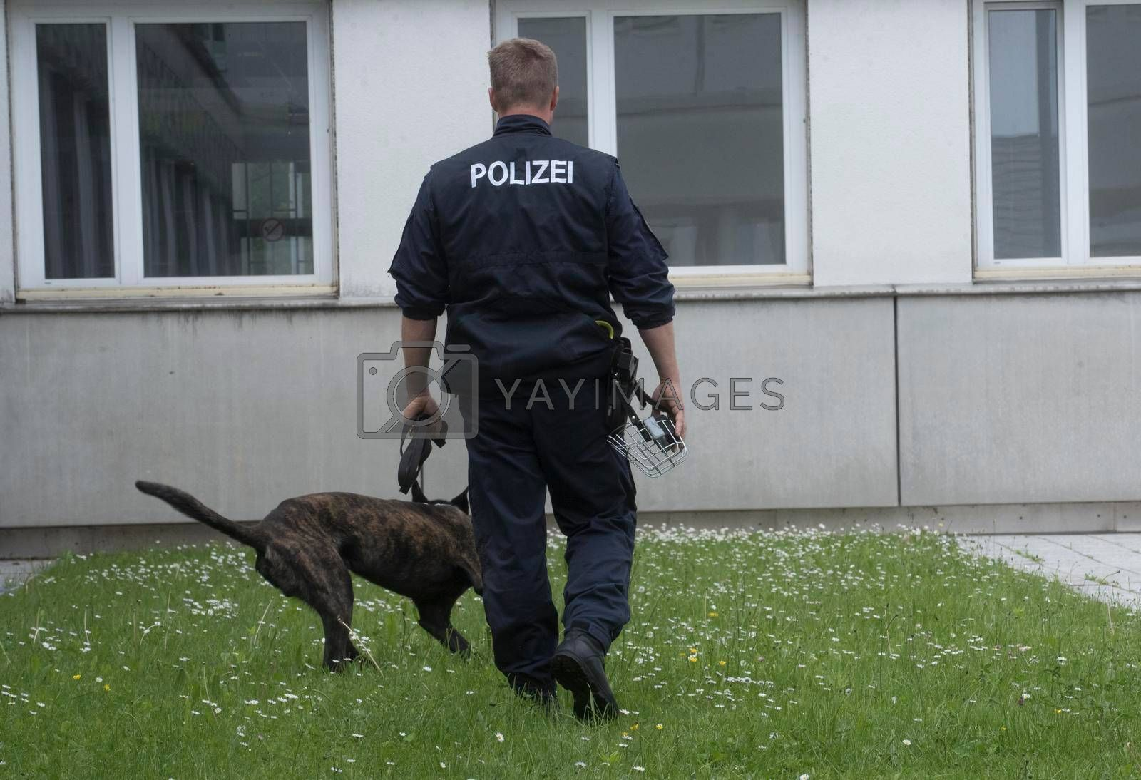 a police dog handler with his special trained police dog