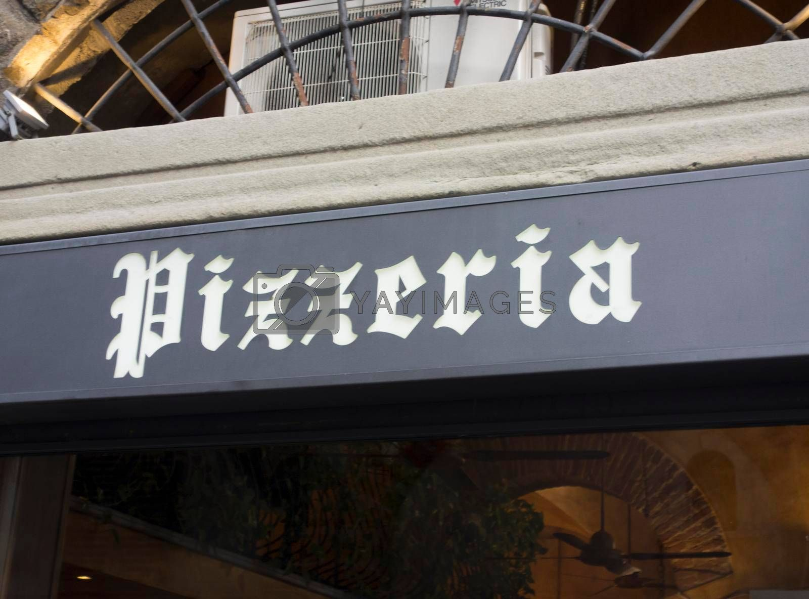 a pizzeria or pizzaria sign, a place for eating and ordering pizza