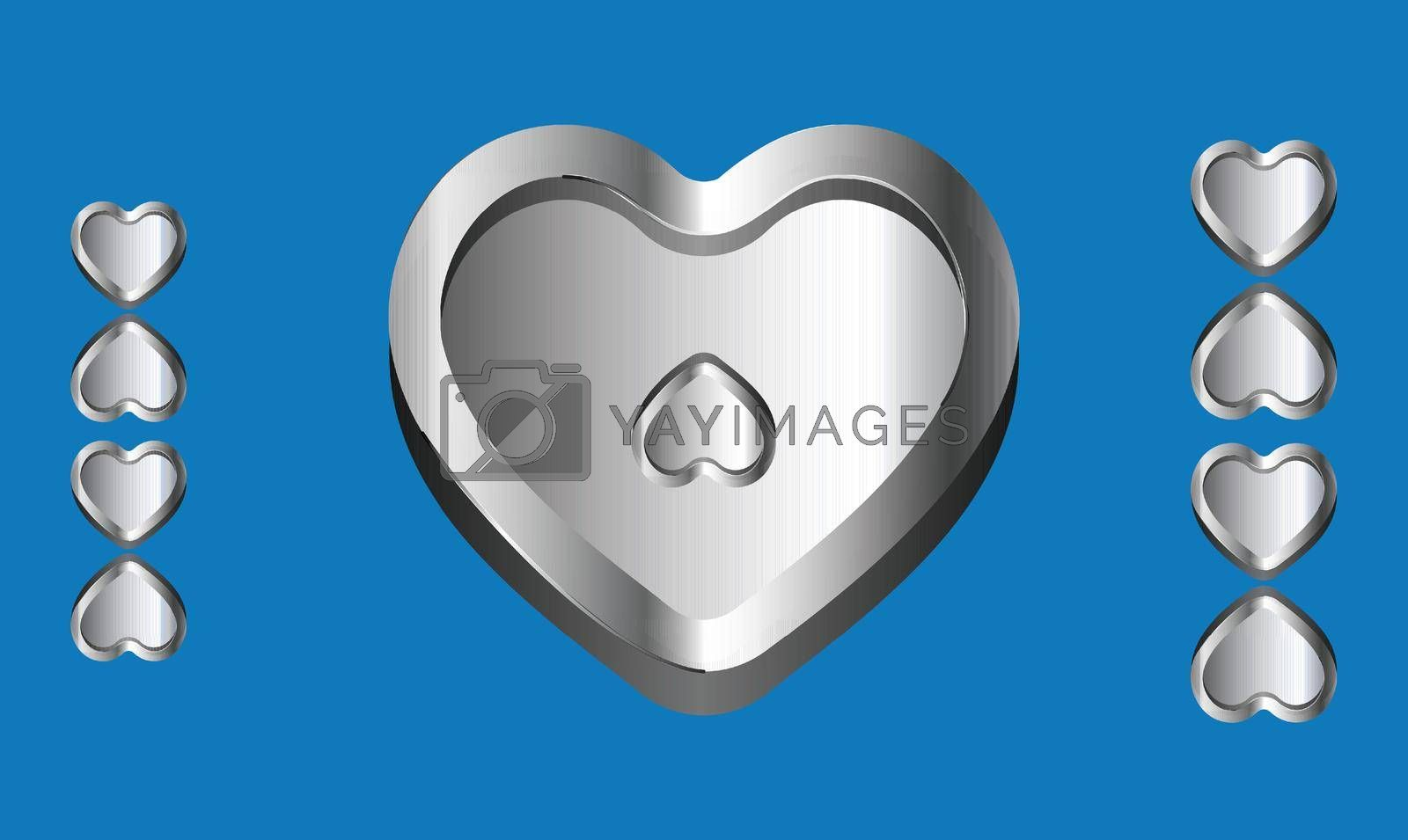 Royalty free image of various heart shape on abstract blue Background by aanavcreationsplus